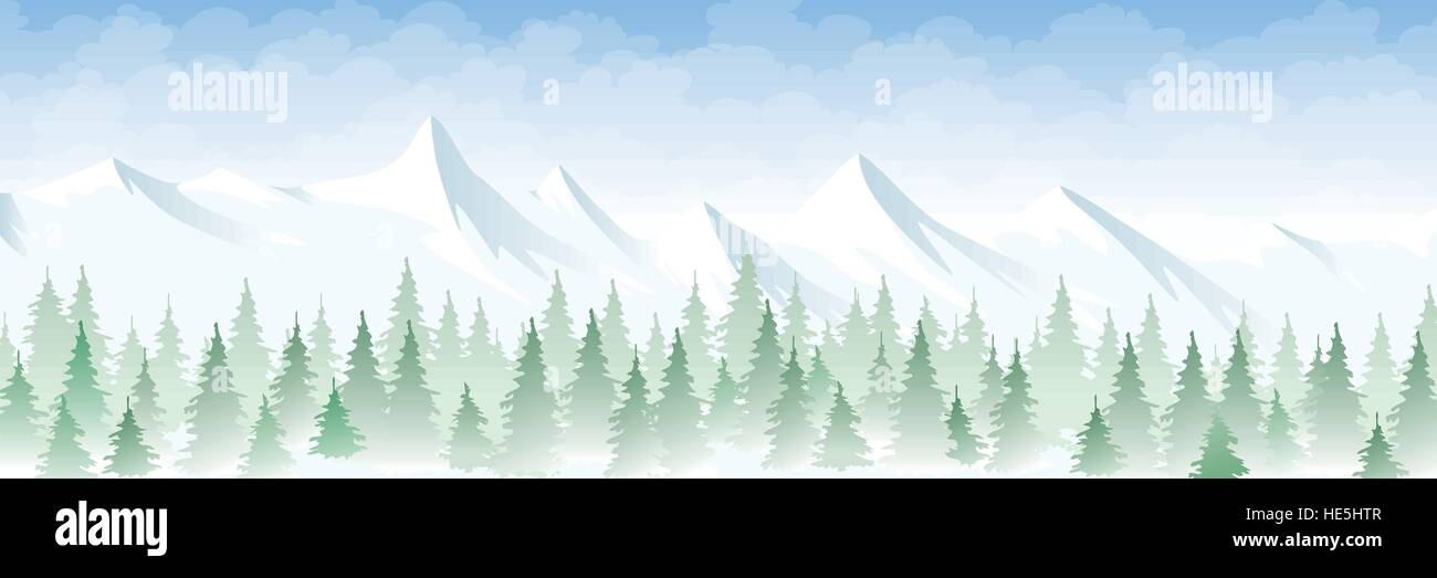 Winter landscape in the mountains - Stock Vector