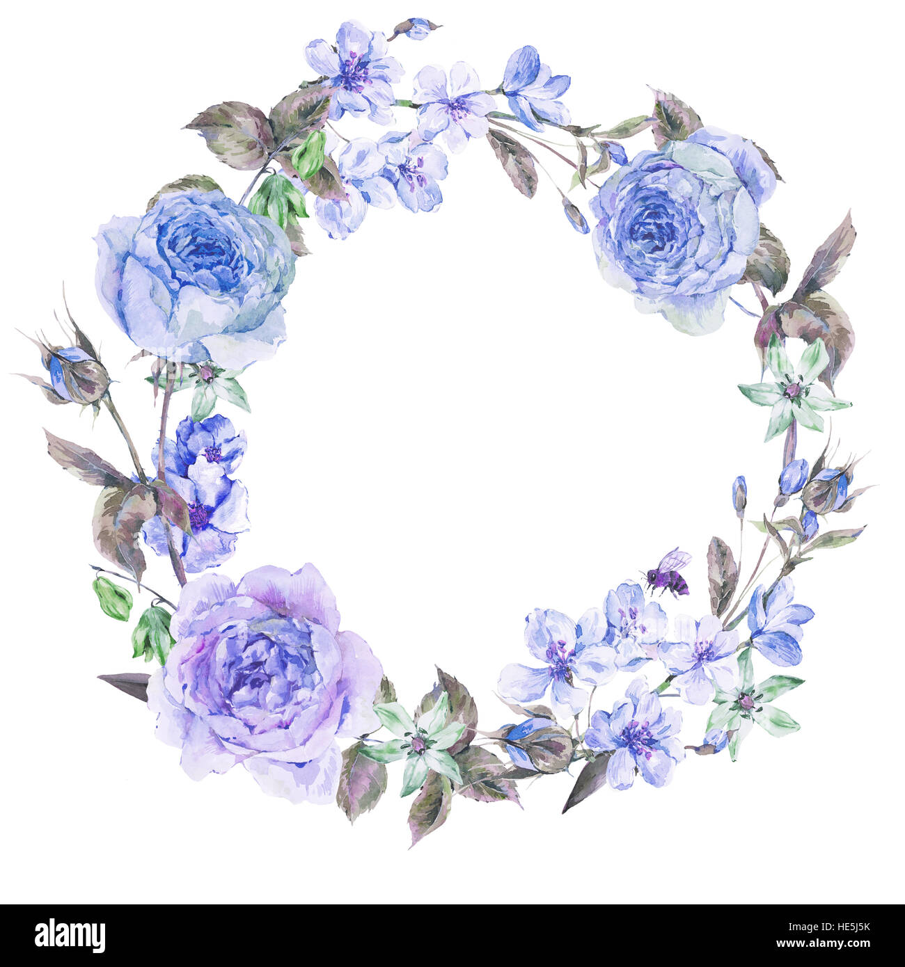 watercolor spring round wreath with blue roses stock photo