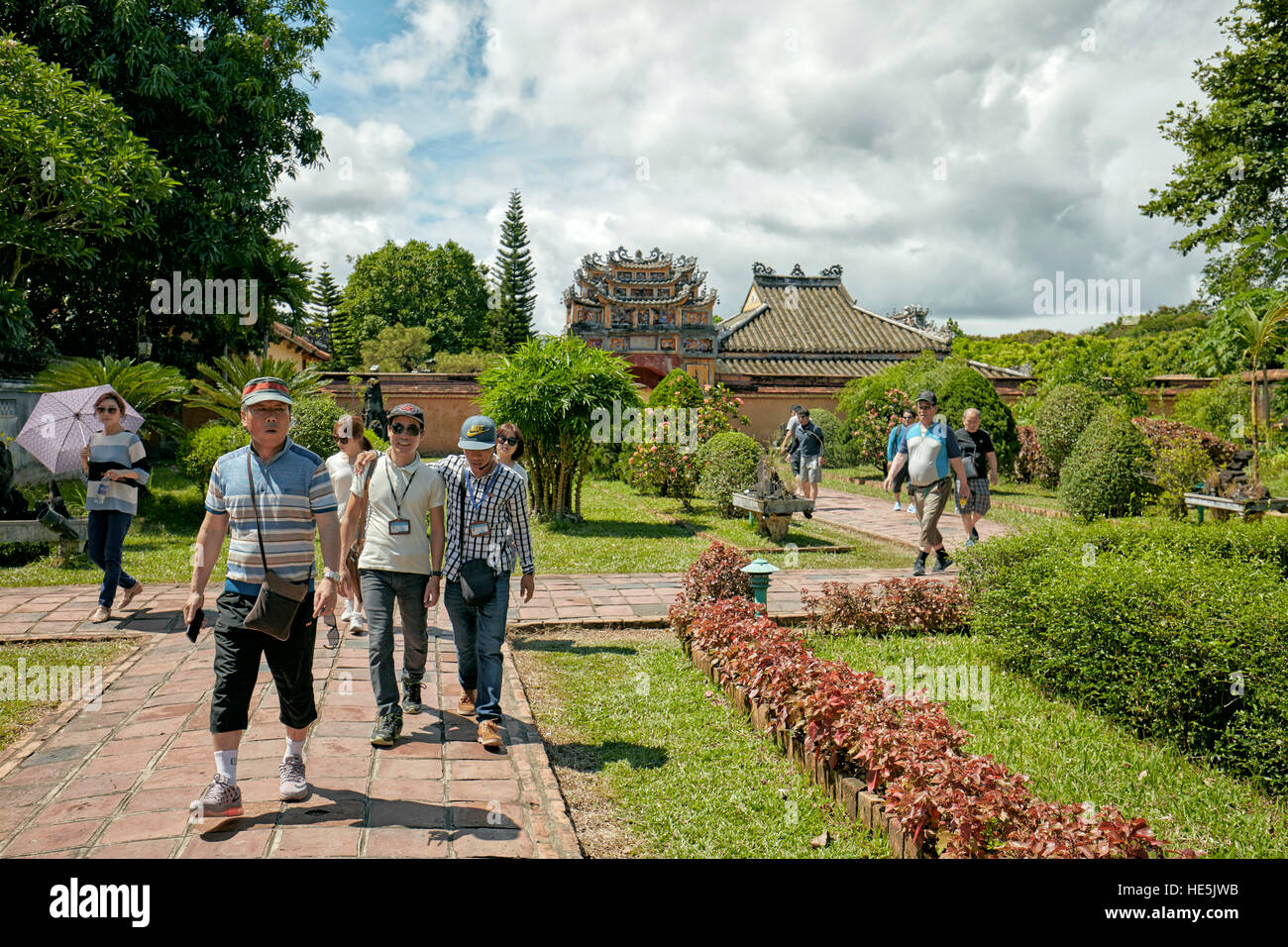 Garden at the Hung To Mieu Temple. Imperial City (The Citadel), Hue, Vietnam. - Stock Image
