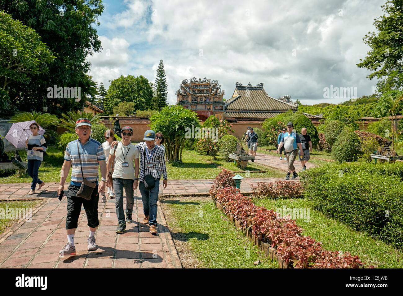 Garden at the Hung To Mieu Temple. Imperial City (The Citadel), Hue, Vietnam. Stock Photo