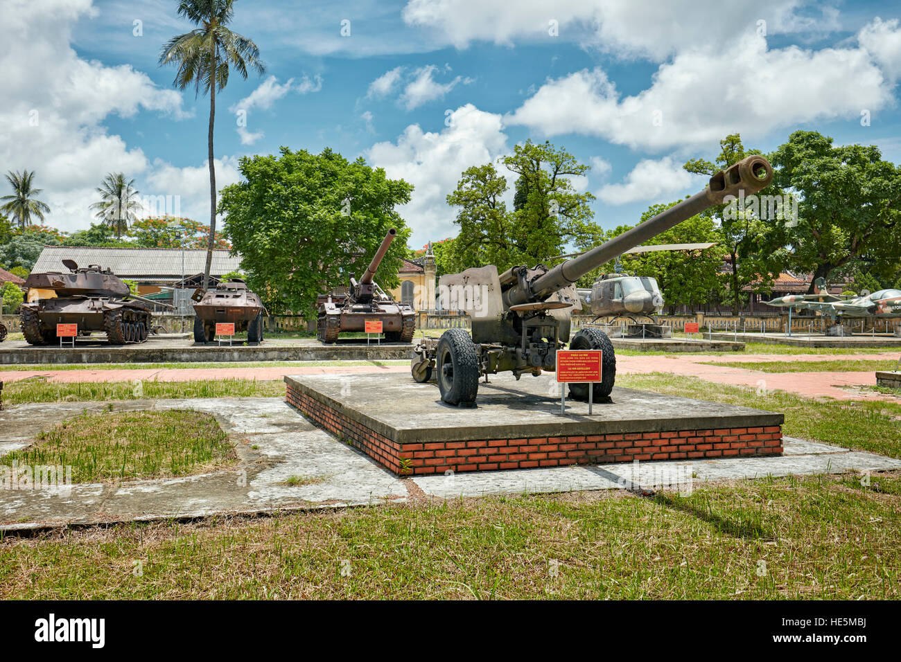 122-mm artillery gun used during Vietnam War. Hue Museum's military collection, Imperial City (The Citadel), - Stock Image