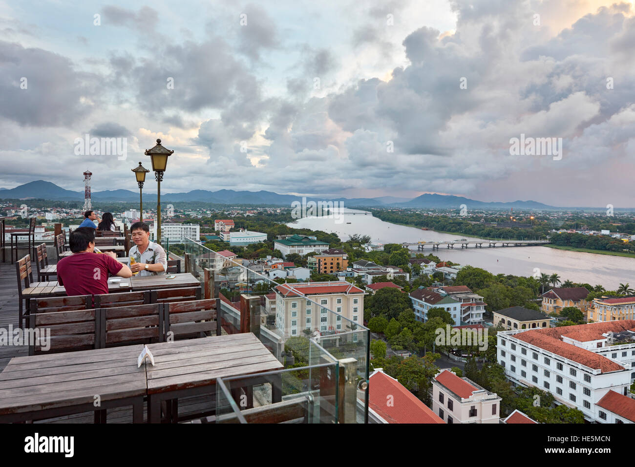 Elevated view of the city and Perfume River from Imperial Hotel rooftop bar. Hue, Vietnam. - Stock Image