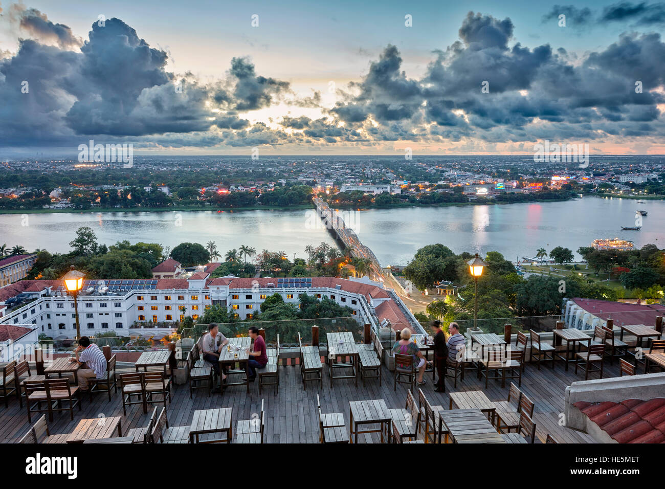 Elevated city view from The Imperial Hotel rooftop bar. Hue, Vietnam. - Stock Image