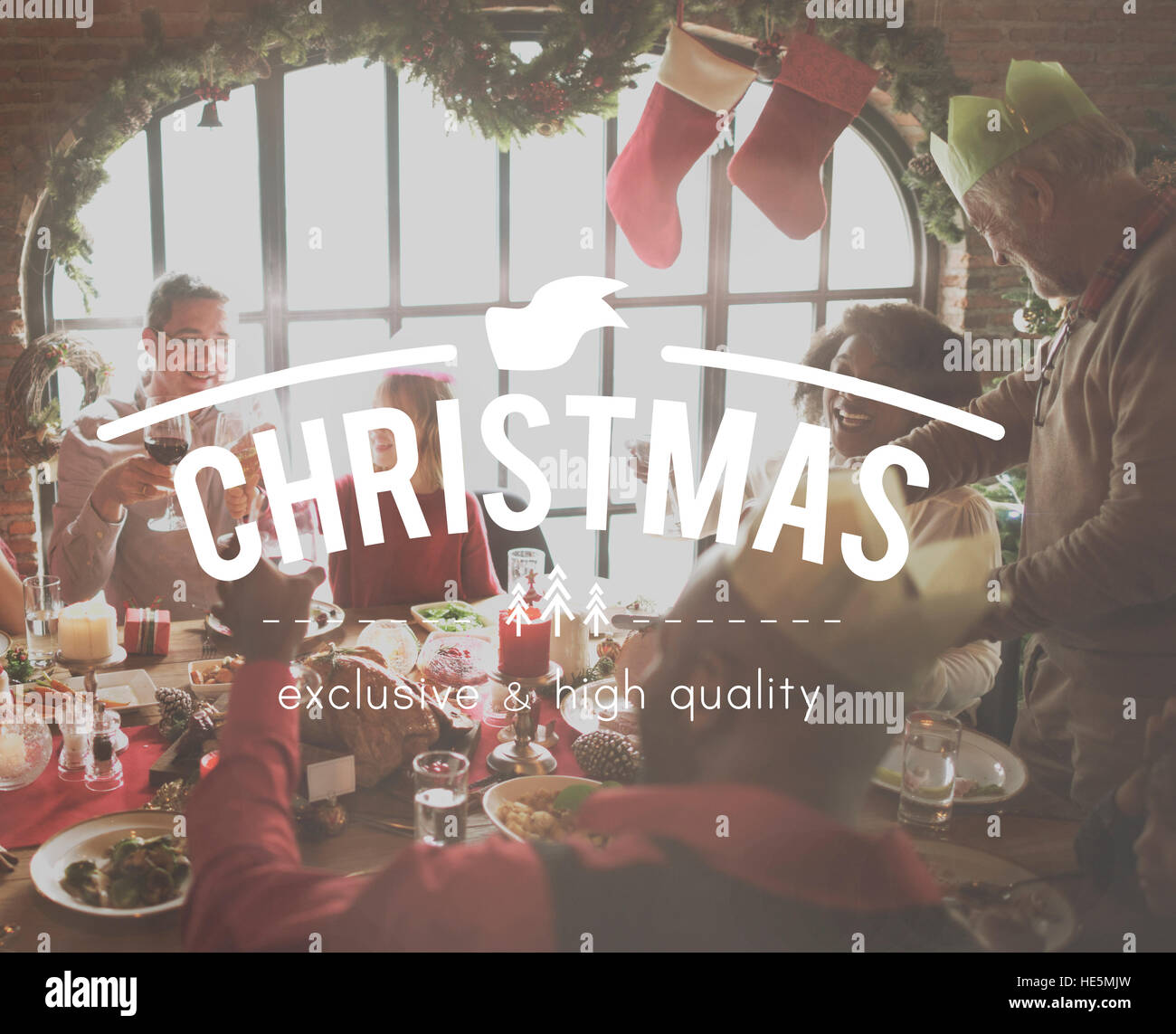 Family Time Wounderful Christmas Happiness - Stock Image