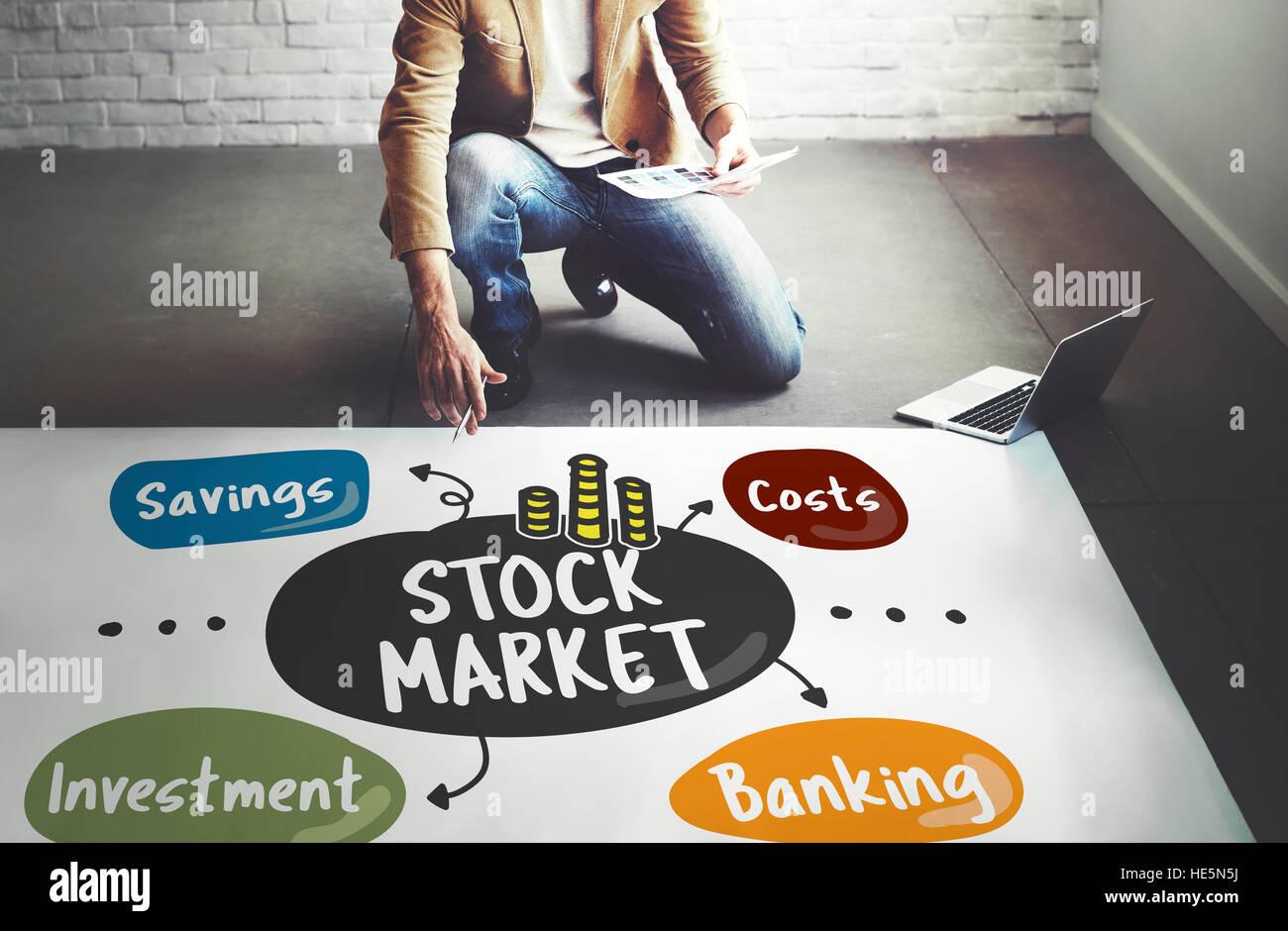 Stock Market Trading Word Diagram Concept - Stock Image