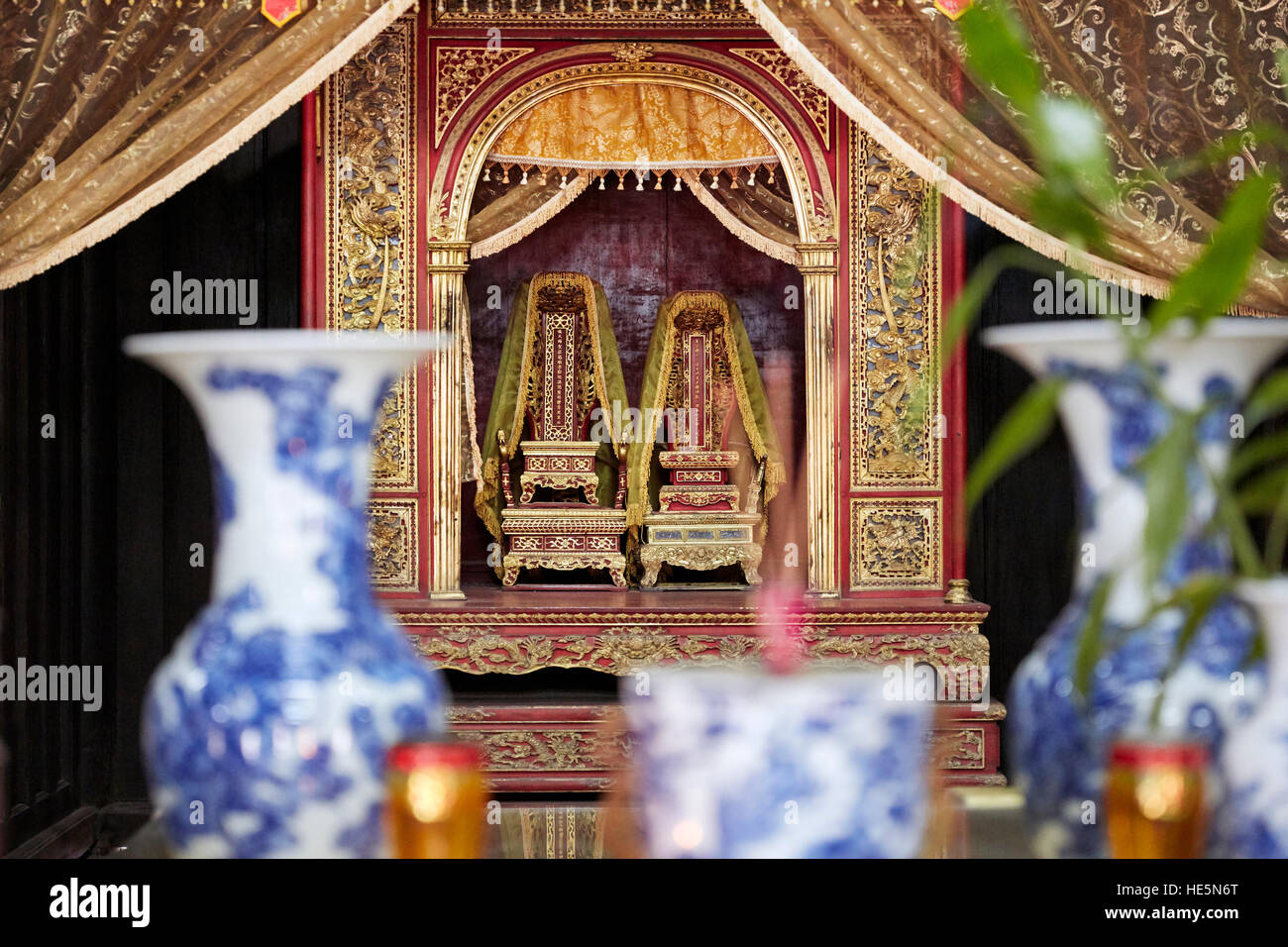 Thrones of the Emperor Tu Duc and his wife, Empress Hoang Le Thien Anh, displayed in Hoa Khiem Temple. Tomb of Tu - Stock Image
