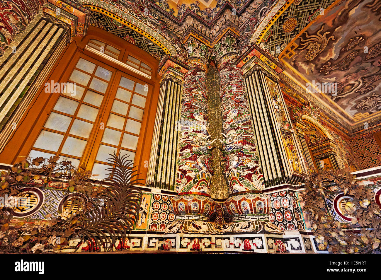 Interior detail of the Thien Dinh Palace. Tomb of Khai Dinh (Ung Tomb), Hue, Vietnam. - Stock Image