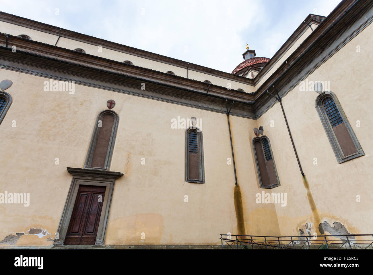 travel to Italy - walls of Basilica di Santo Spirito (Basilica of the Holy Spirit) in Florence city - Stock Image