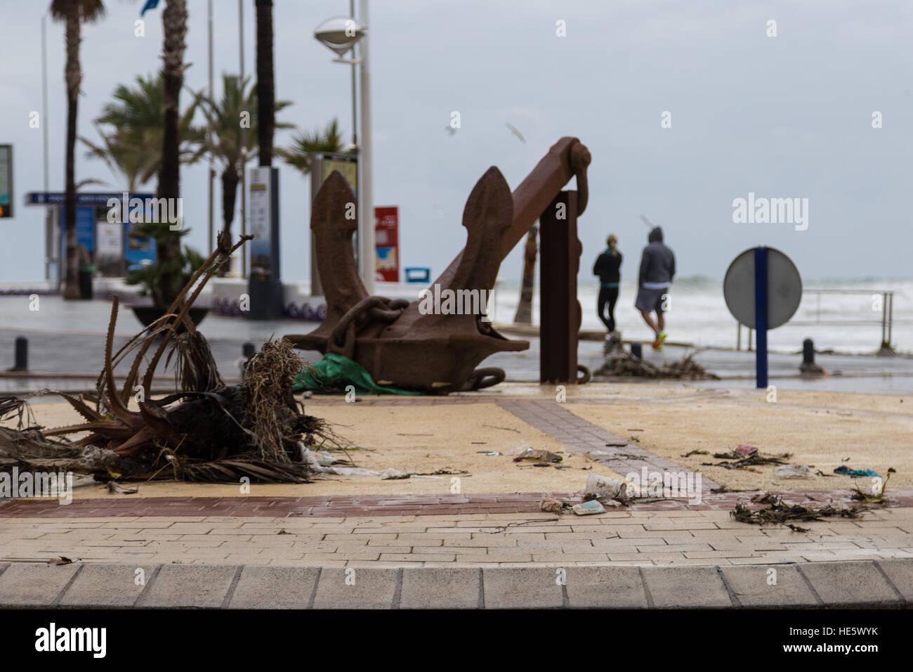 La Cala de Finestrat, Benidorm, Spain  17th December, 2016  Debris