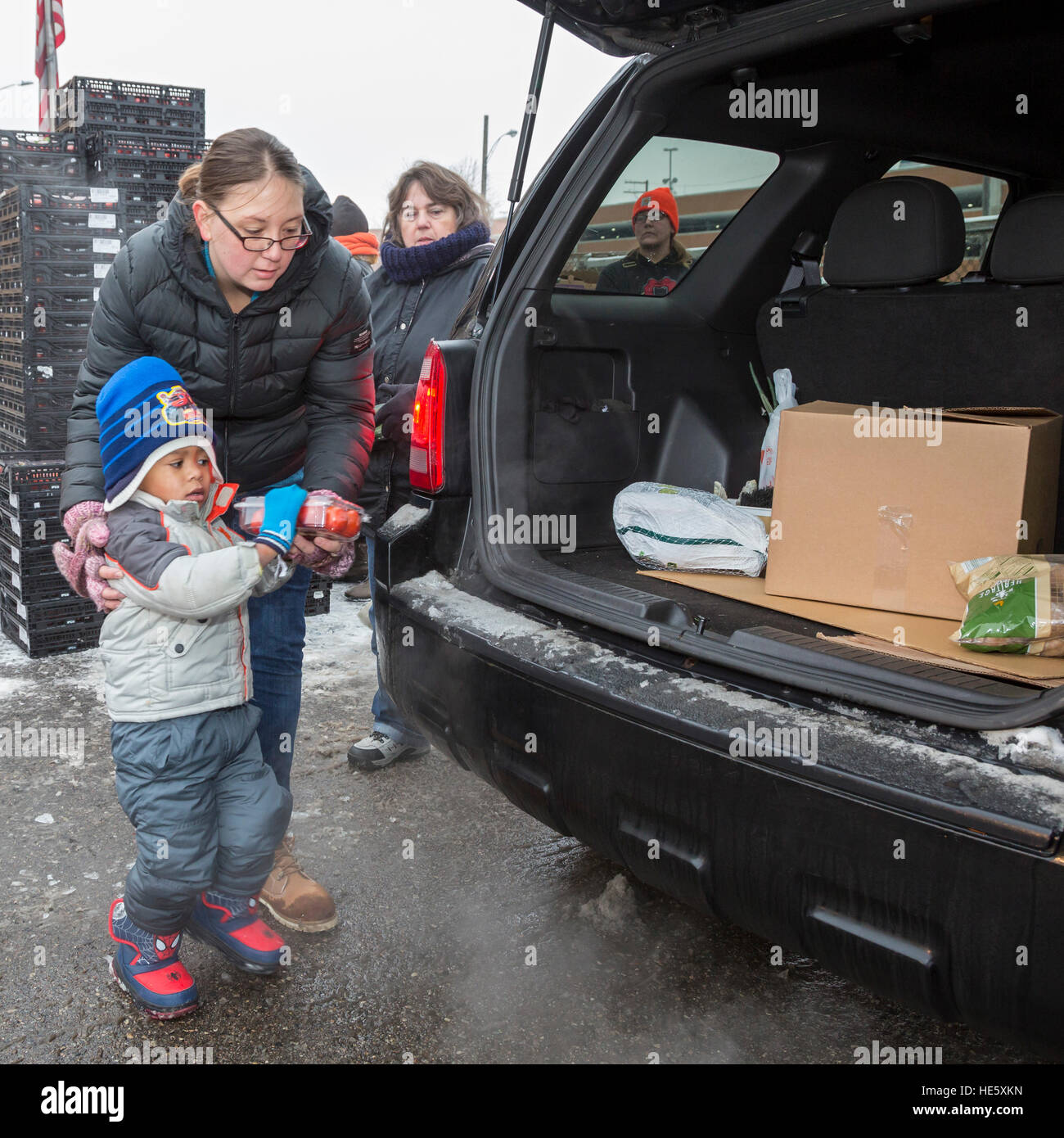 Detroit, Michigan USA - 17 December 2016 - Members of the Teamsters and AFL-CIO unions distribute holiday food boxes - Stock Image