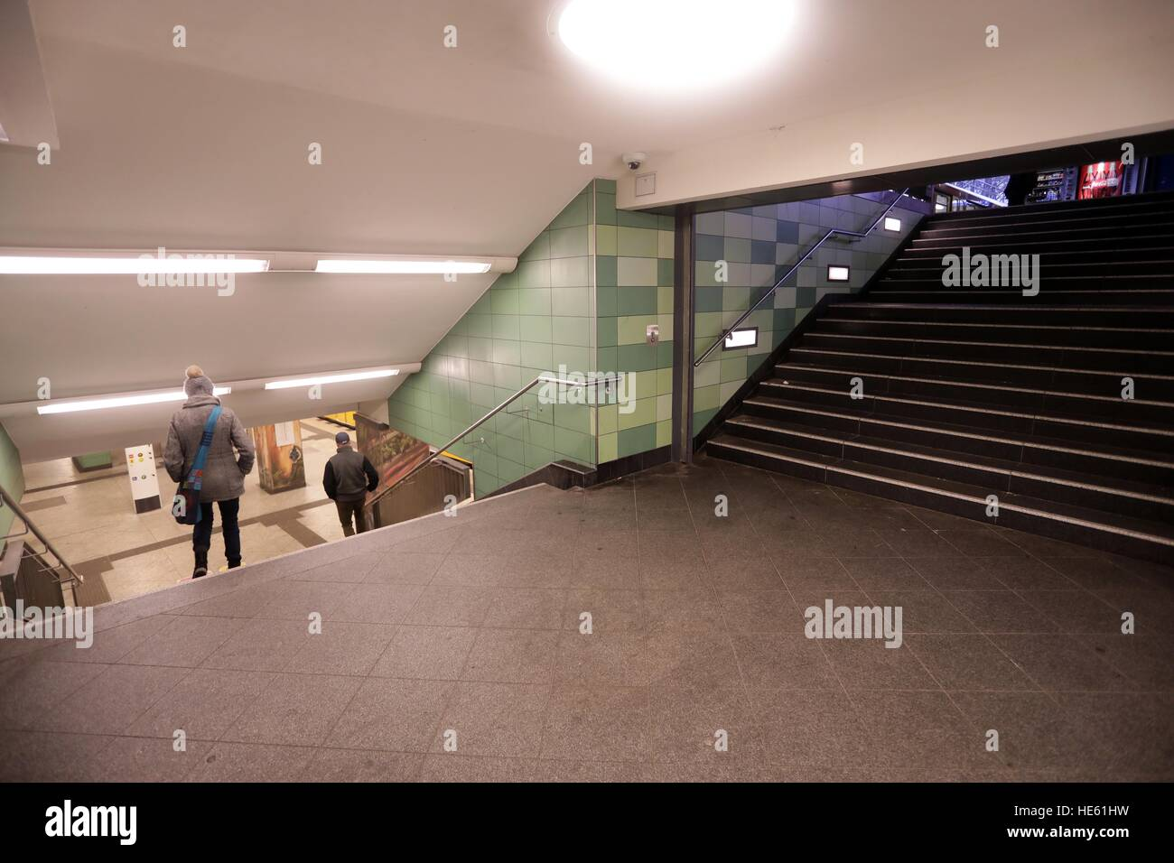 View of the area of the underground station Hermannstrasse where a woman was brutally kicked down a staircase, Berlin, - Stock Image
