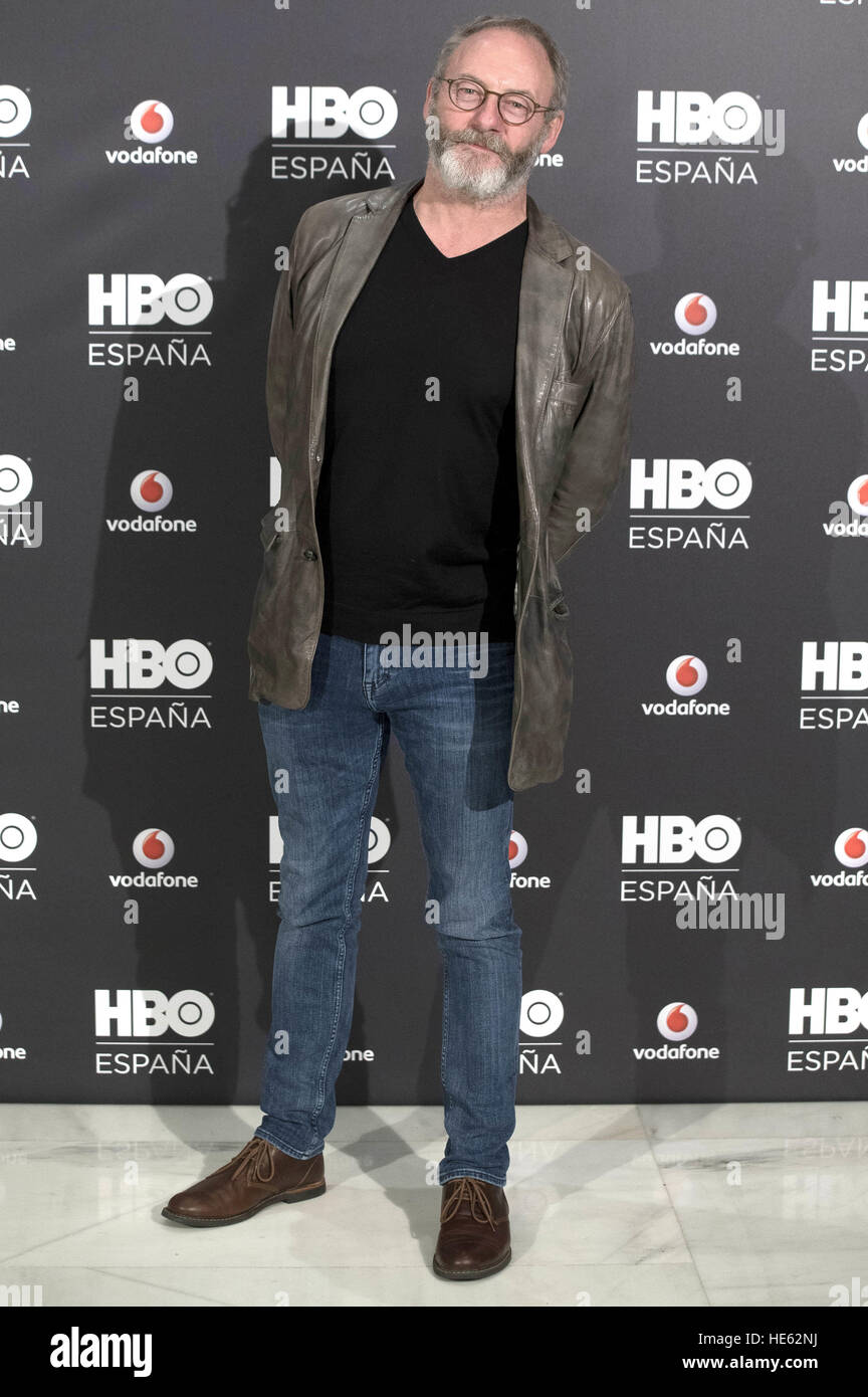 Madrid, Spain. 15th Dec, 2016. Photocall with Liam Cunningham at HBO Espana presentation at Urso Hotel in Madrid. Stock Photo