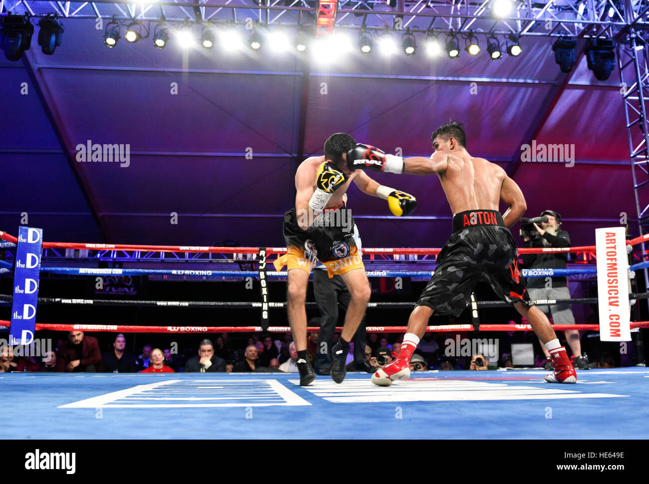 Las Vegas, Nevada, USA. 17th December, 2016. 'Lil' Oscar Cantu battles Aston Palicte in the main event, - Stock Image