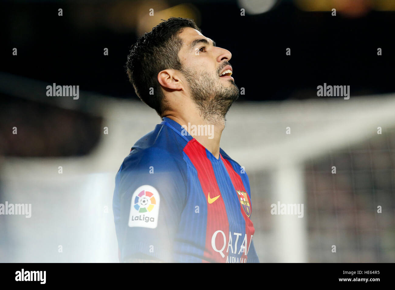 Barcelona, Spain. 18th Dec, 2016. Barcelona's Luis Suarez reacts during the Spanish league football match between - Stock Image