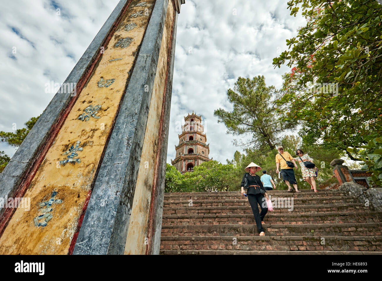 The front entrance of the Thien Mu Pagoda. Hue, Vietnam. - Stock Image