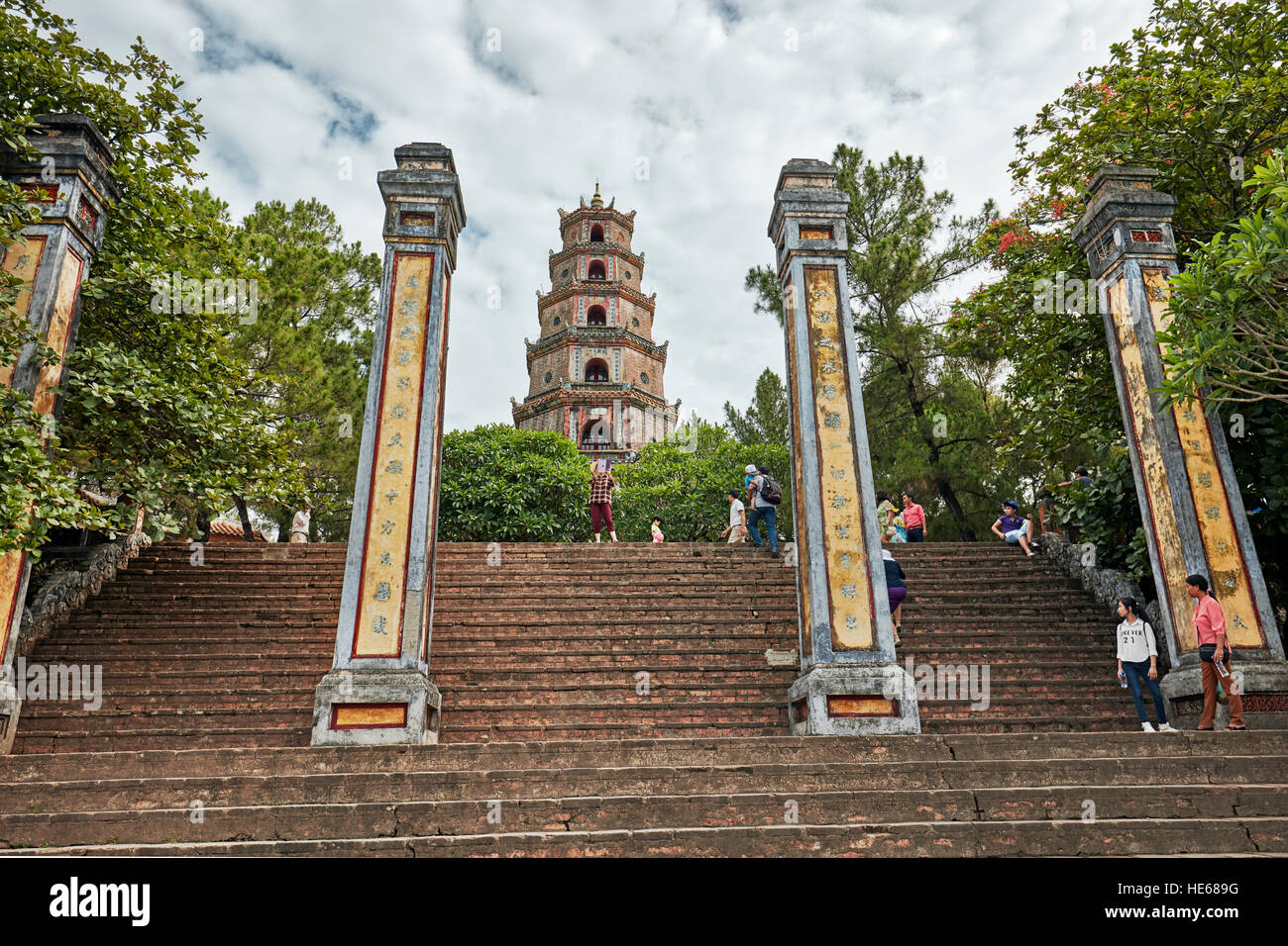 The pillars of the front entrance of the Thien Mu Pagoda. Hue, Vietnam. - Stock Image
