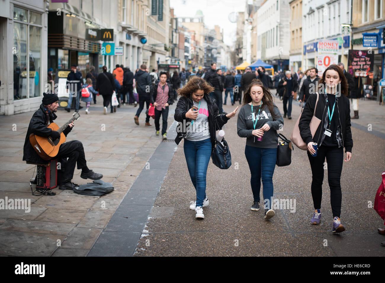 Cornmarket street in Oxford, UK - Stock Image