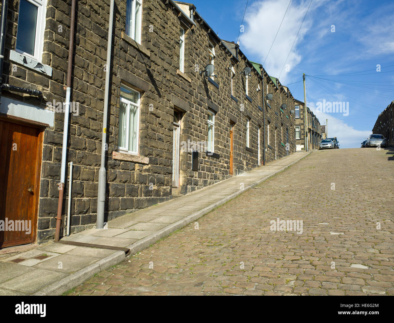 Terraced Houses On Steep Hill UK Skipton Yorkshire Dales