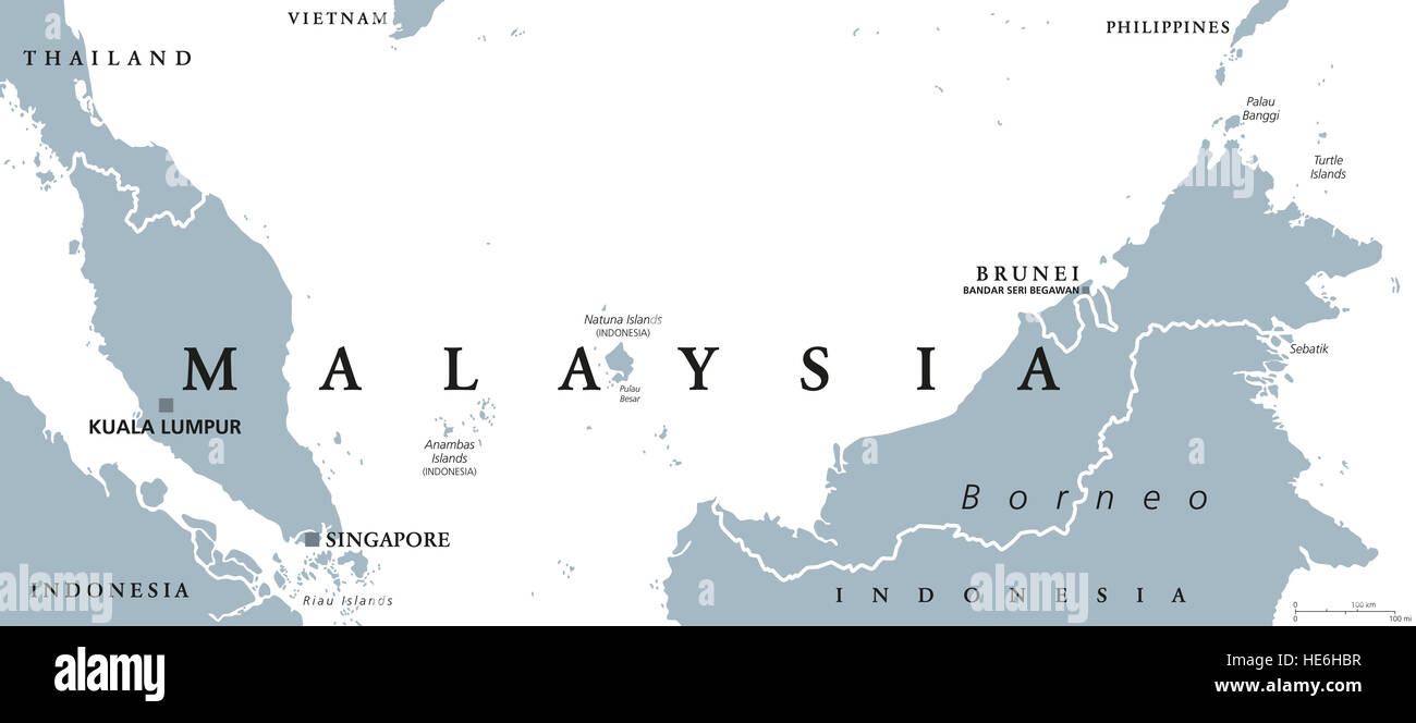 Map Of Asia Brunei.Malaysia Political Map With Capital Kuala Lumpur In Asia With Stock