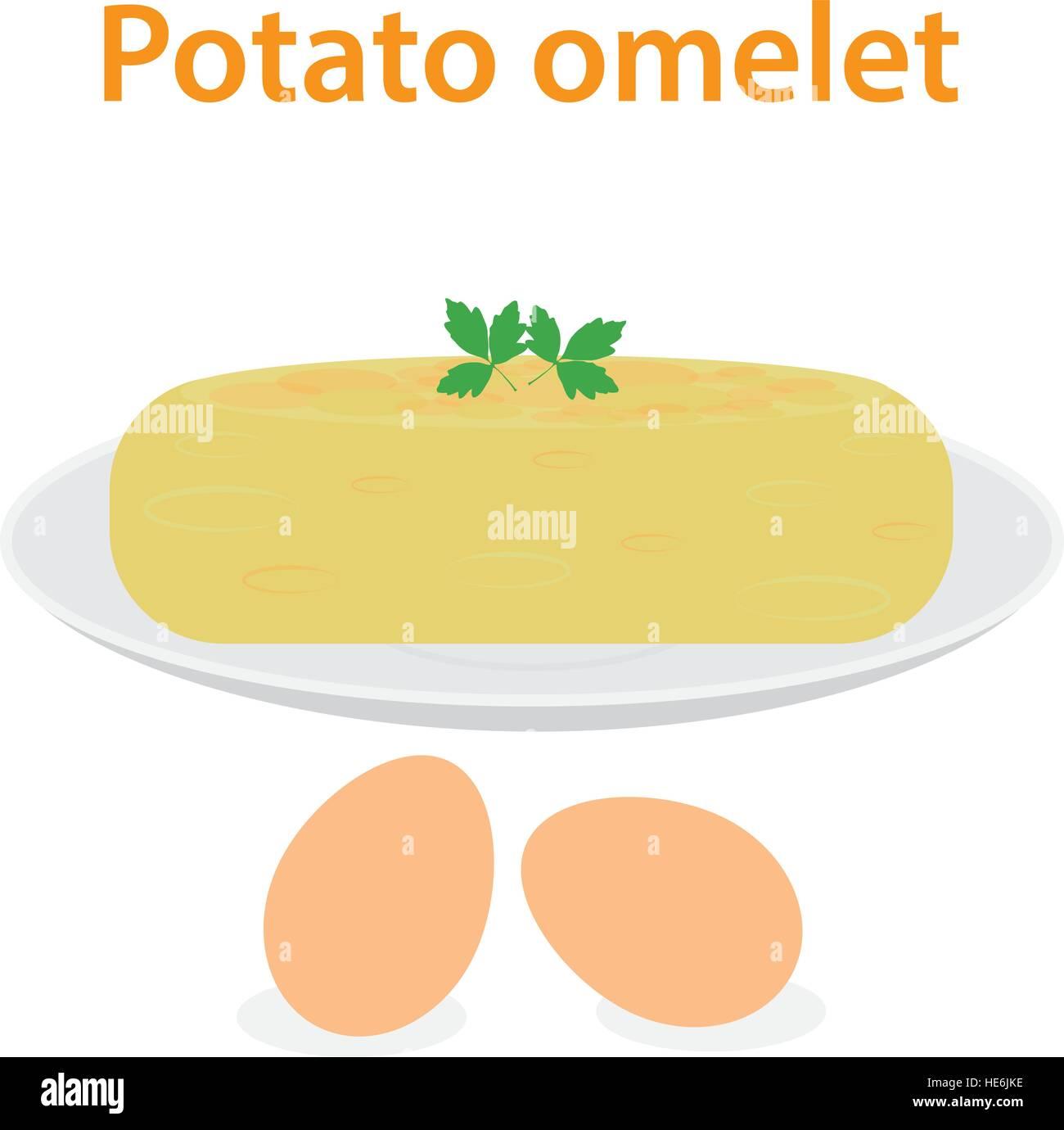 Potato omelet - Stock Vector