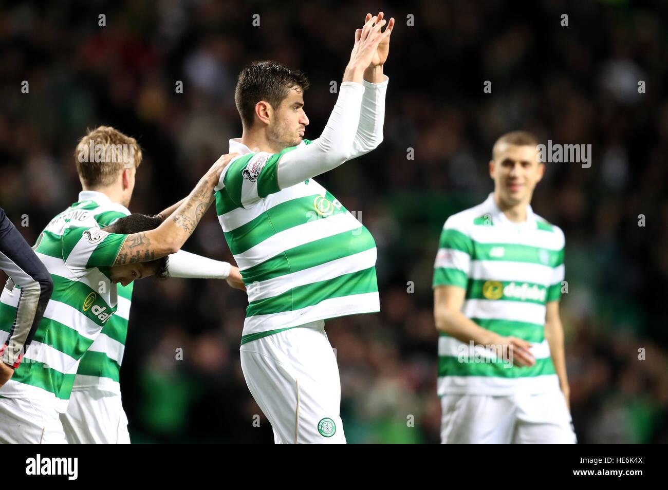 Celtic's Nir Bitton celebrates scoring his side's second goal during the Ladbrokes Scottish Premiership - Stock Image