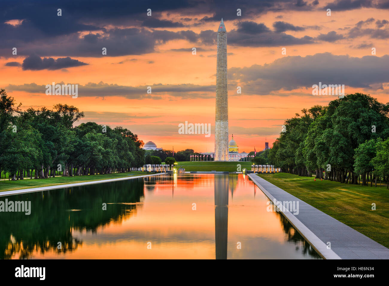Washington Monument on the Reflecting Pool in Washington, DC. - Stock Image