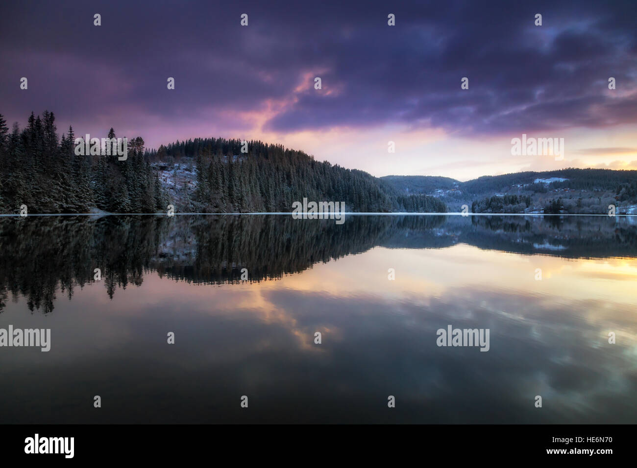 Litlvatnet lake water reflections, Trondheim, Norway - Stock Image