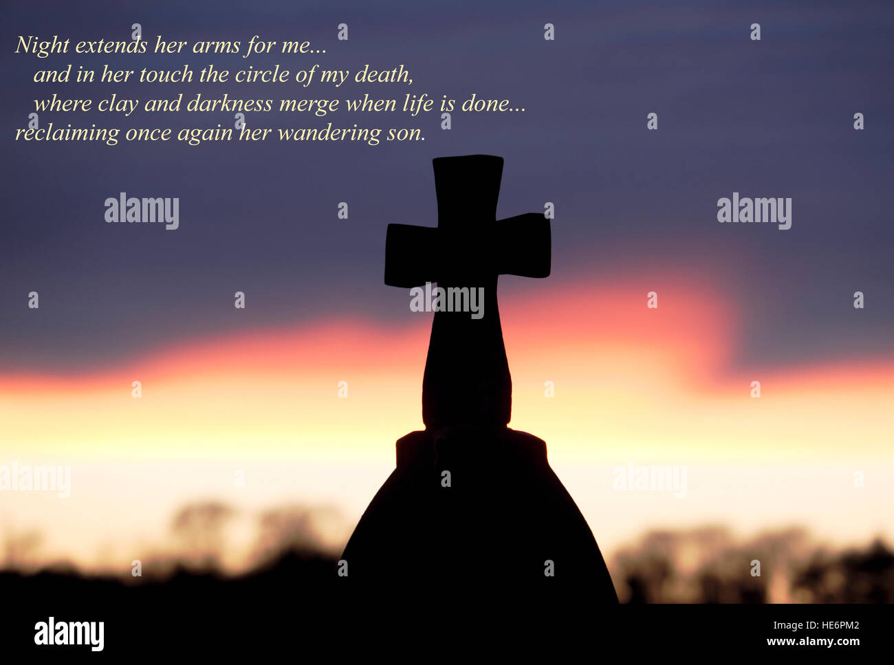 Sunset behind a Celtic Cross with an overlay of inspirational words from an original poem by poet Russ Merne. - Stock Image