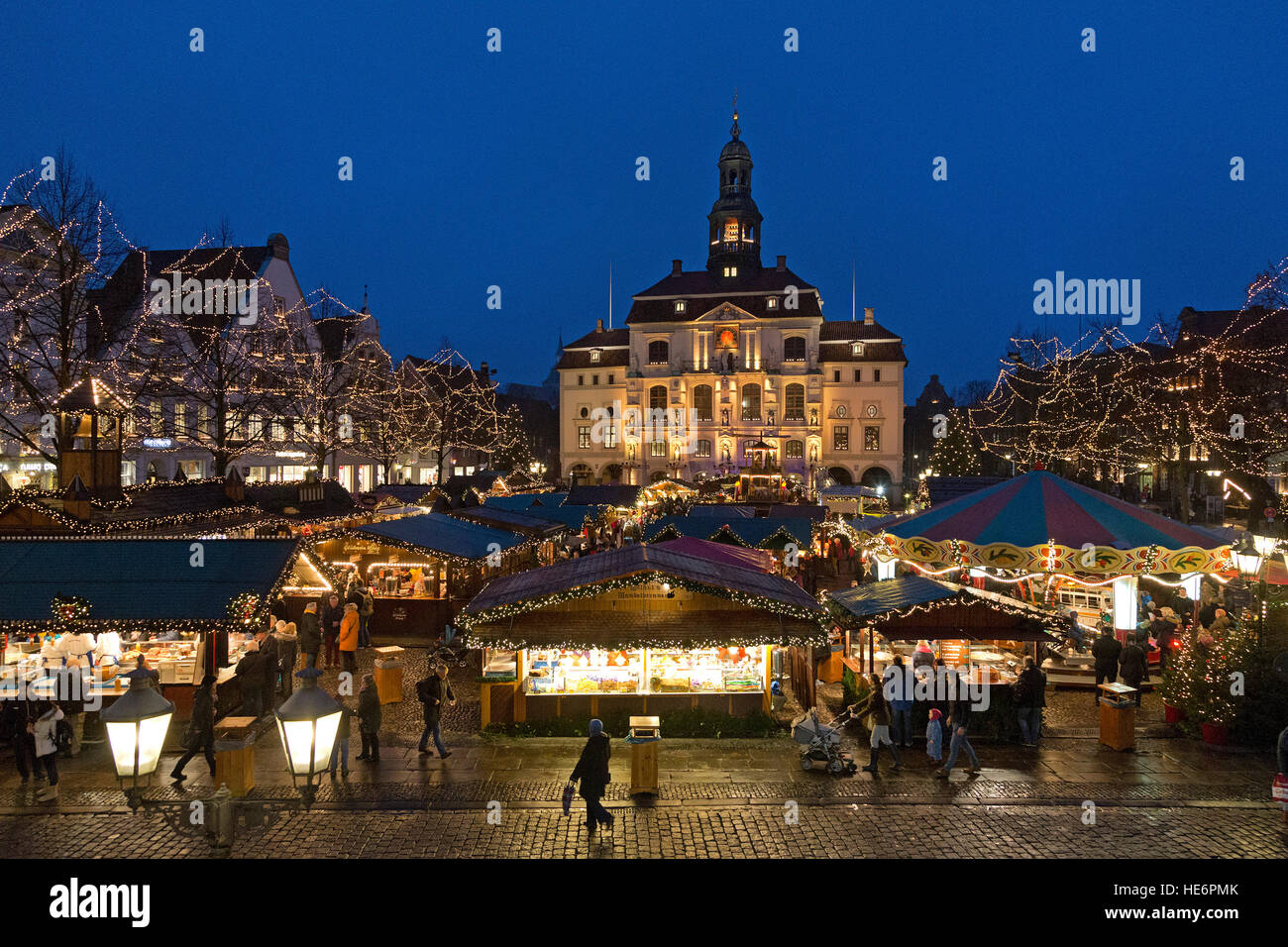 Christmas Market, town hall, Lueneburg, Lower Saxony, Germany Stock Photo