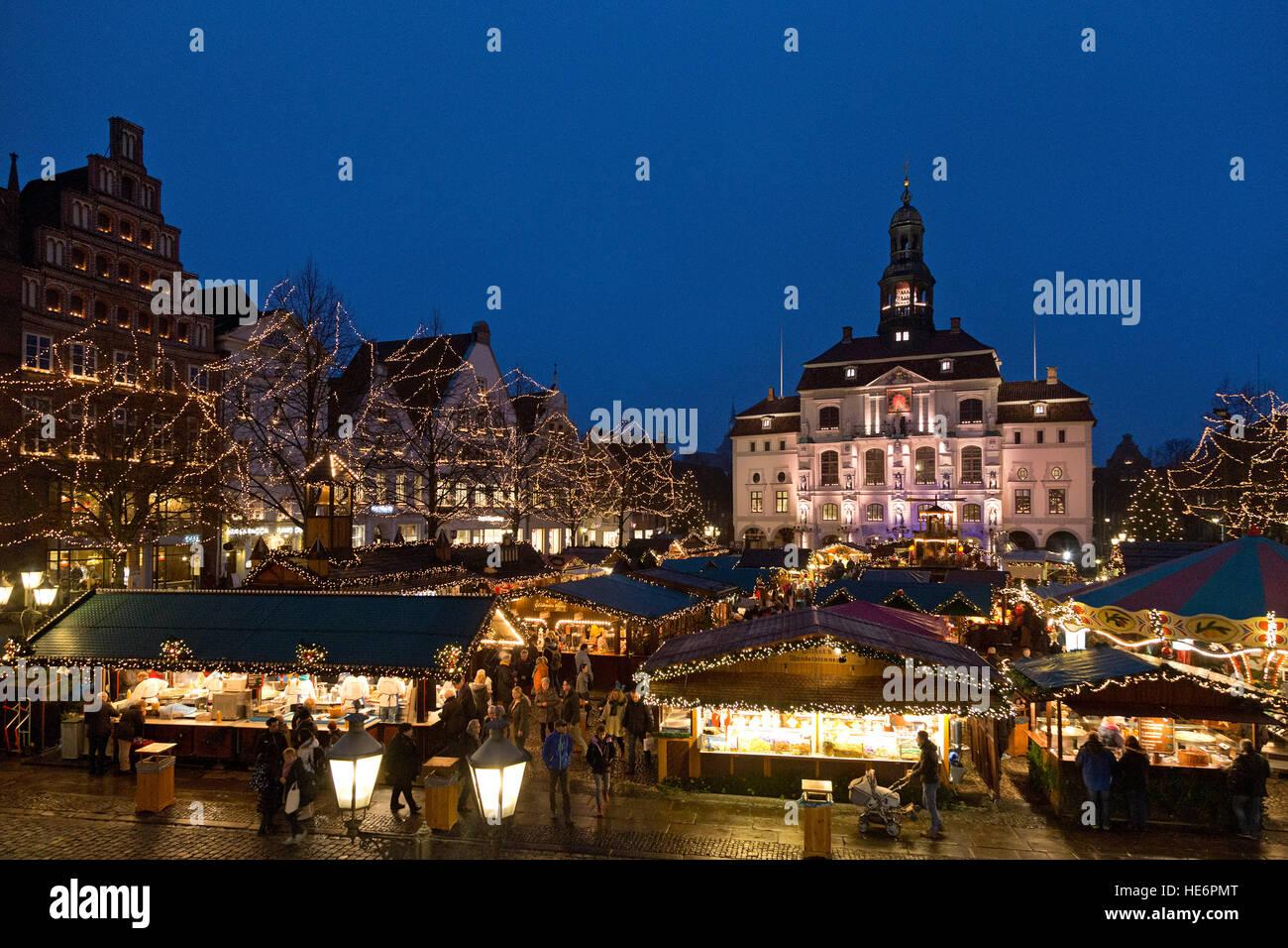 Christmas Market, town hall, Lueneburg, Lower Saxony, Germany Stock Photo