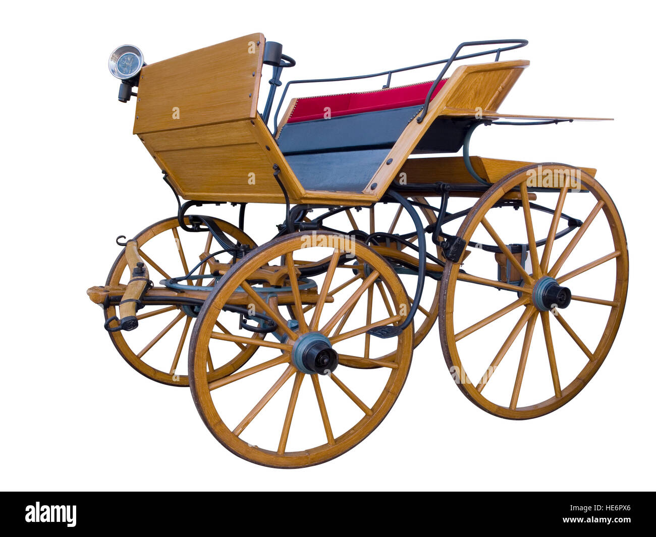 Horse drawn carriages stand isolated on white anno 1800. - Stock Image