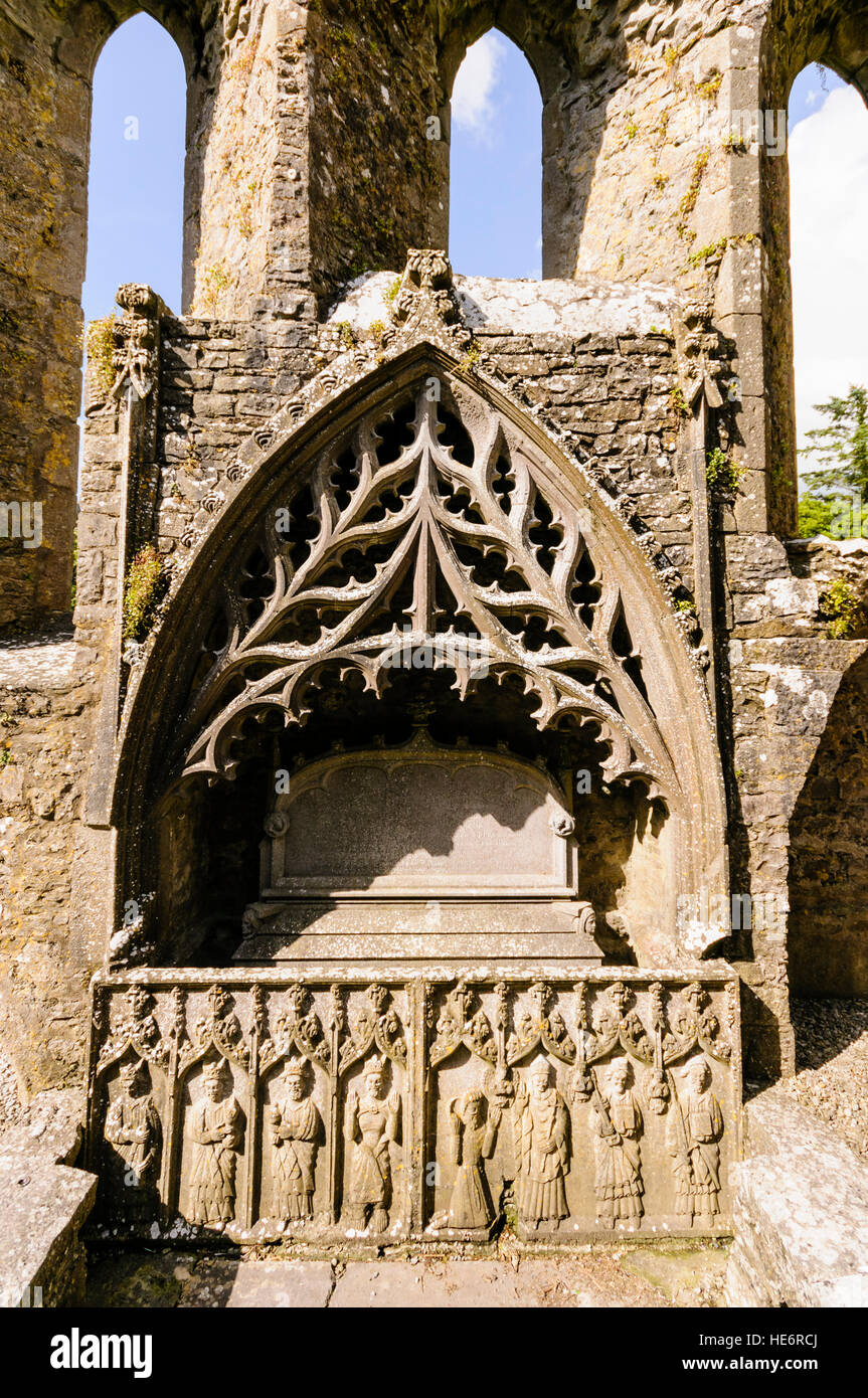 Ornate ancient carved stonework in Strade Abbey, County Mayo, Ireland - Stock Image