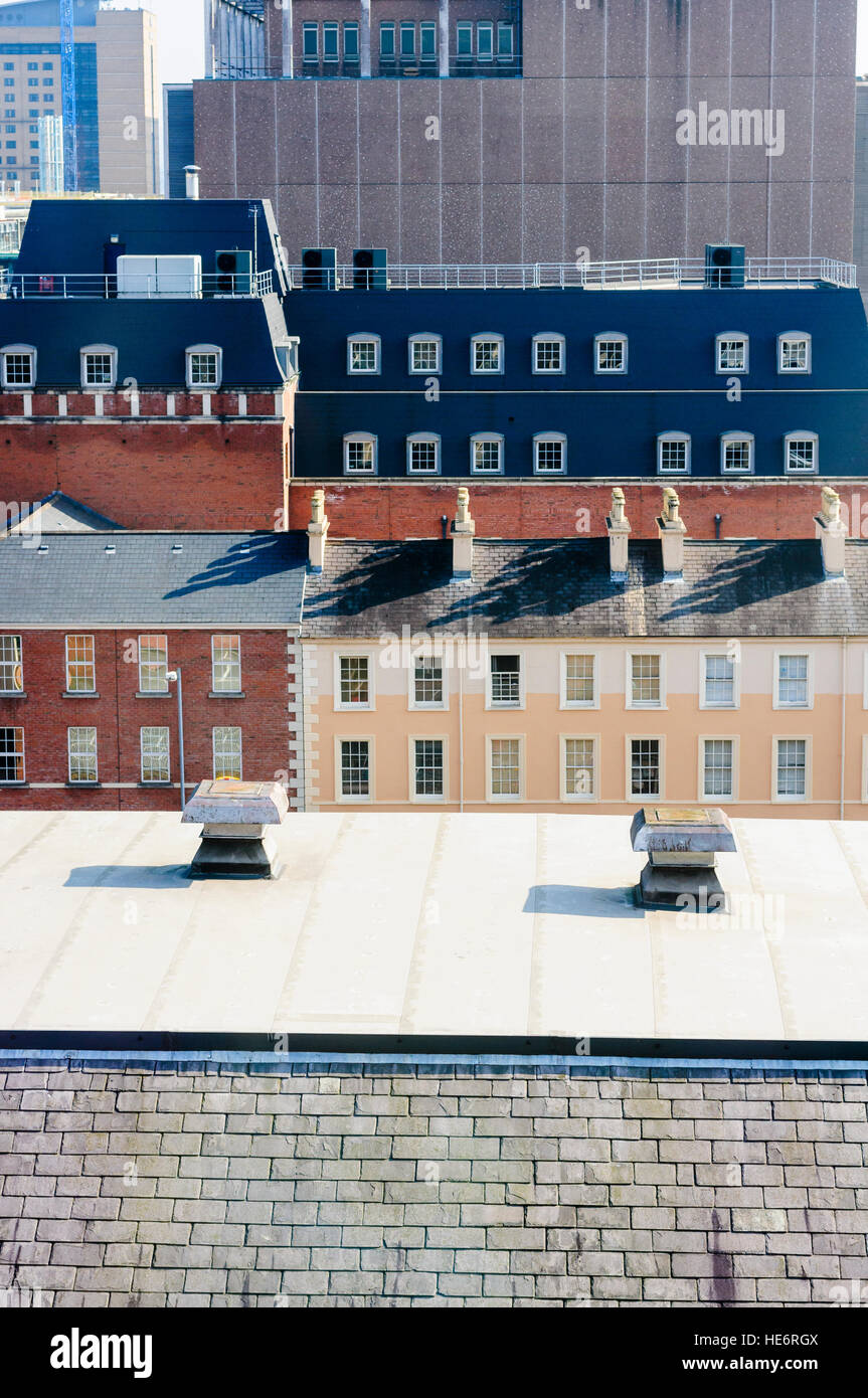 Rooftops of houses and office buildings in Belfast - Stock Image