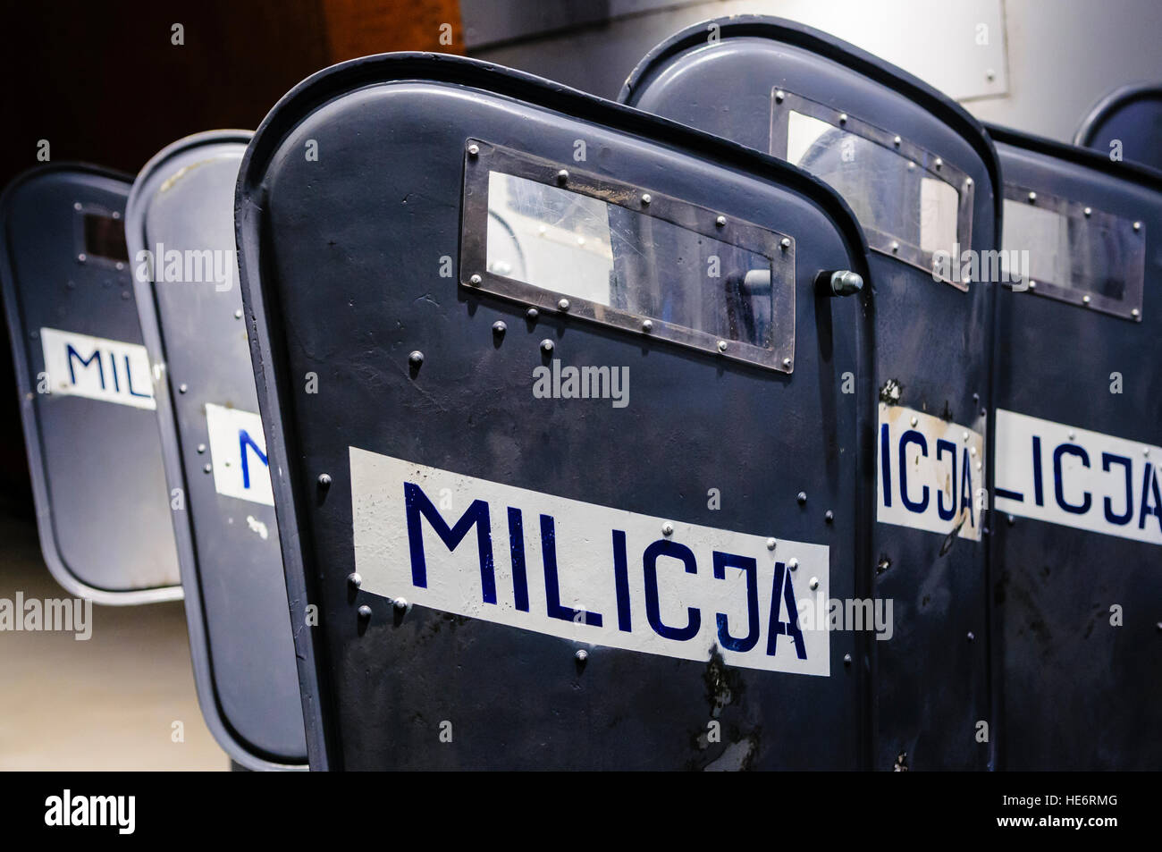 Polish Militia riot shields in the European Solidarity Centre, Gdansk, used during the introduction of martial law - Stock Image