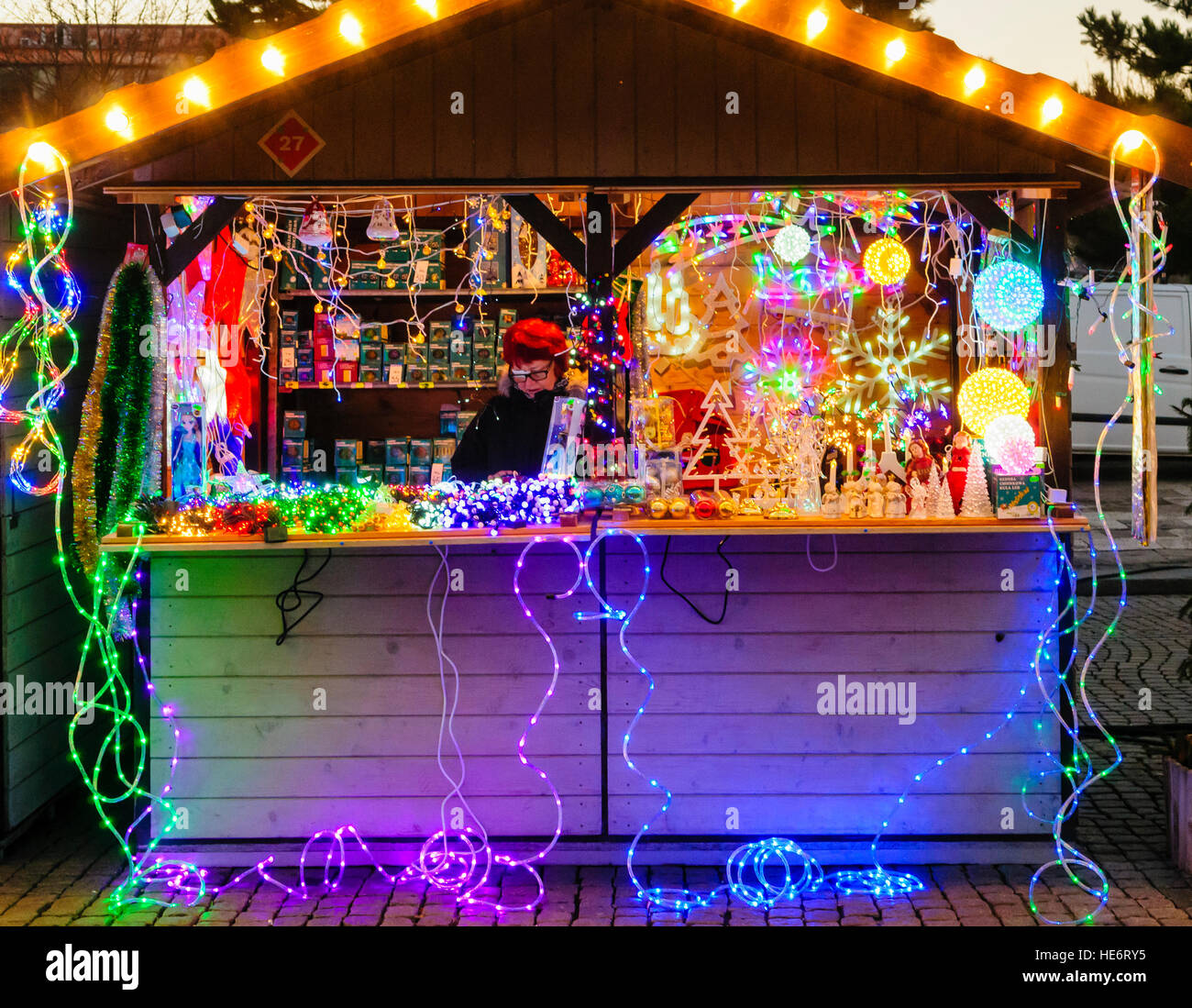 A stall selling Christmas tree lights and decorations at the Christmas Market, Gdansk, Poland Stock Photo
