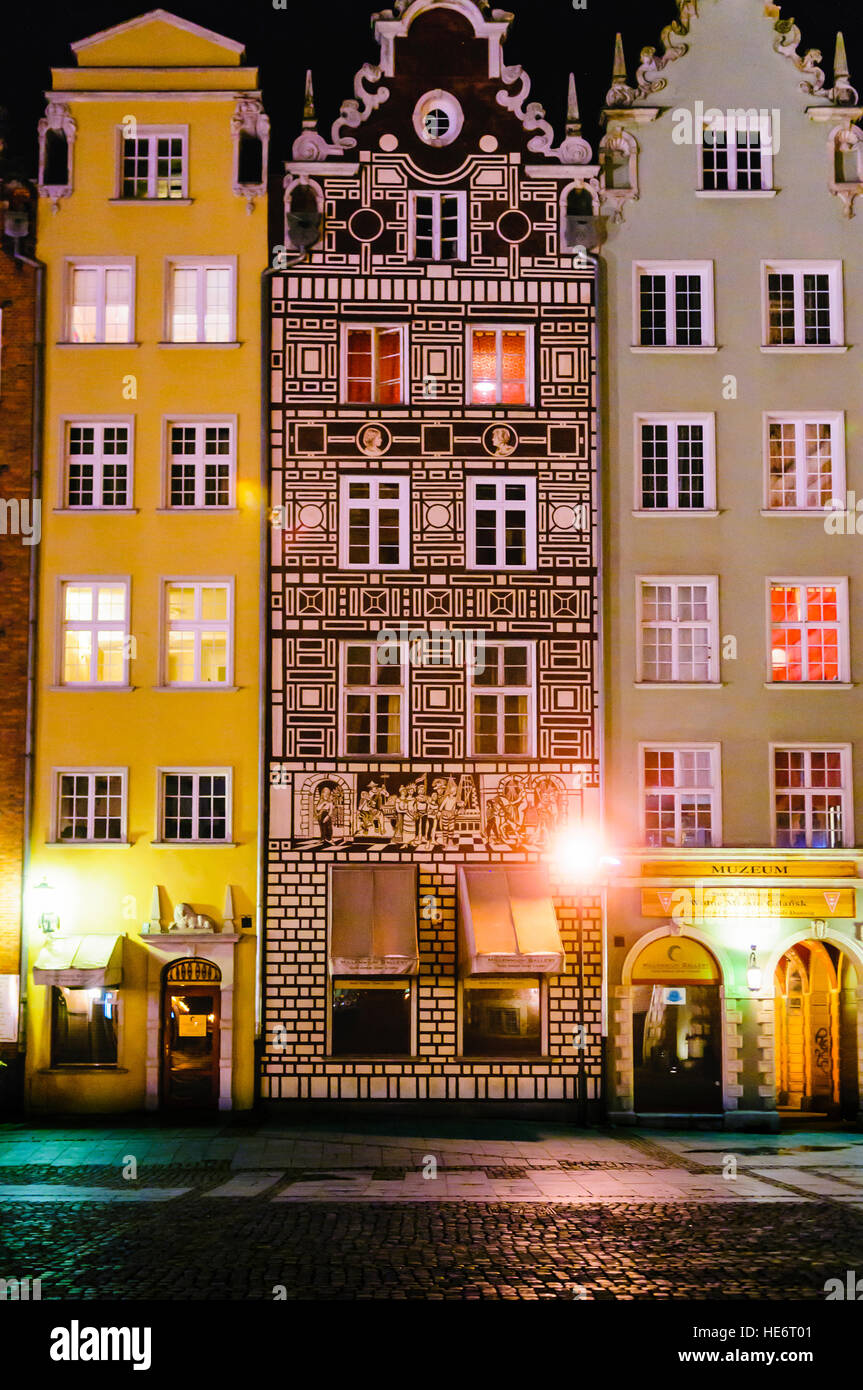 Building with an ornately decorated fascade in Dluga, Dlugi Targ, Gdansk - Stock Image