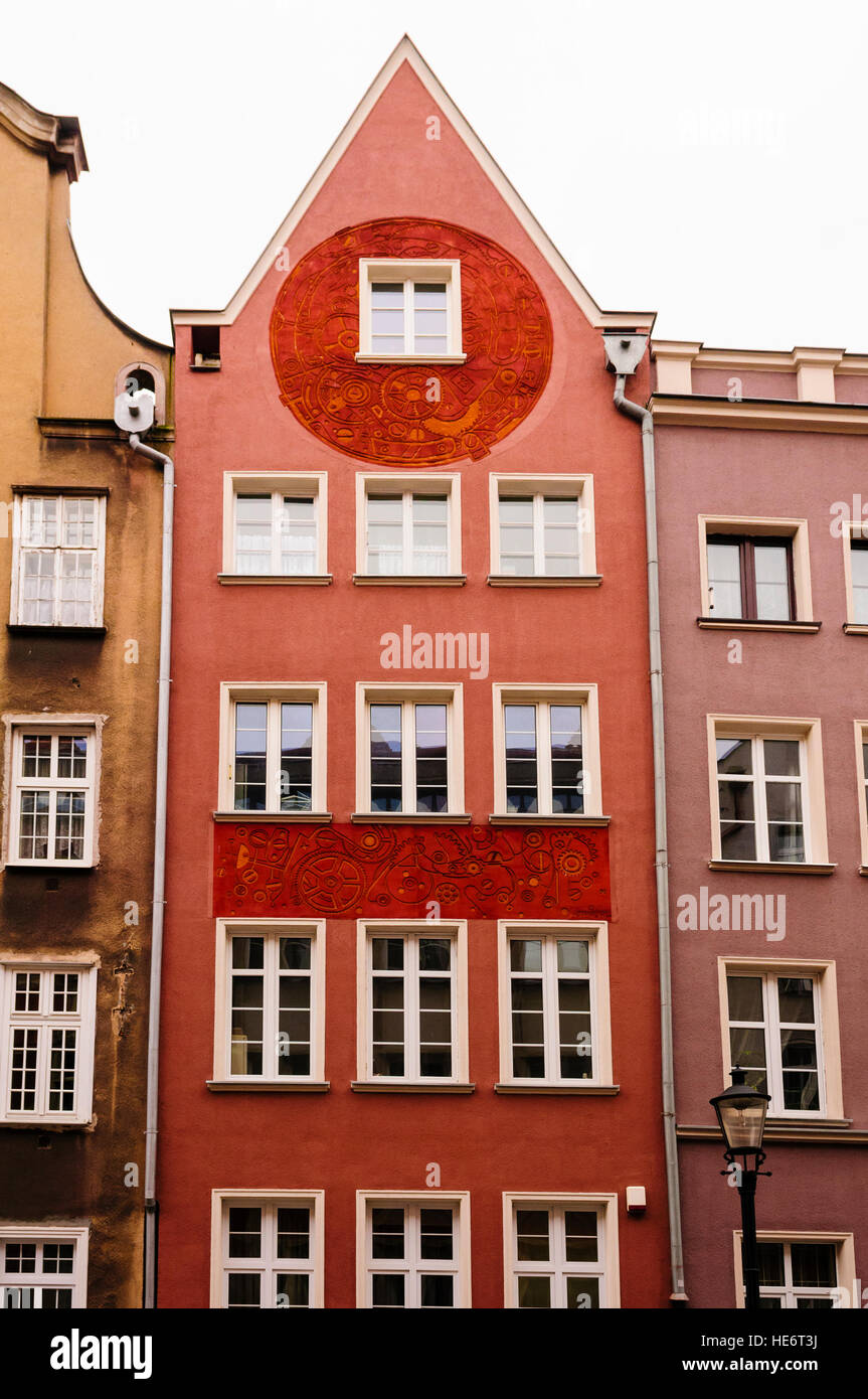 Building in Gdansk, Poland with a pointed gable. - Stock Image