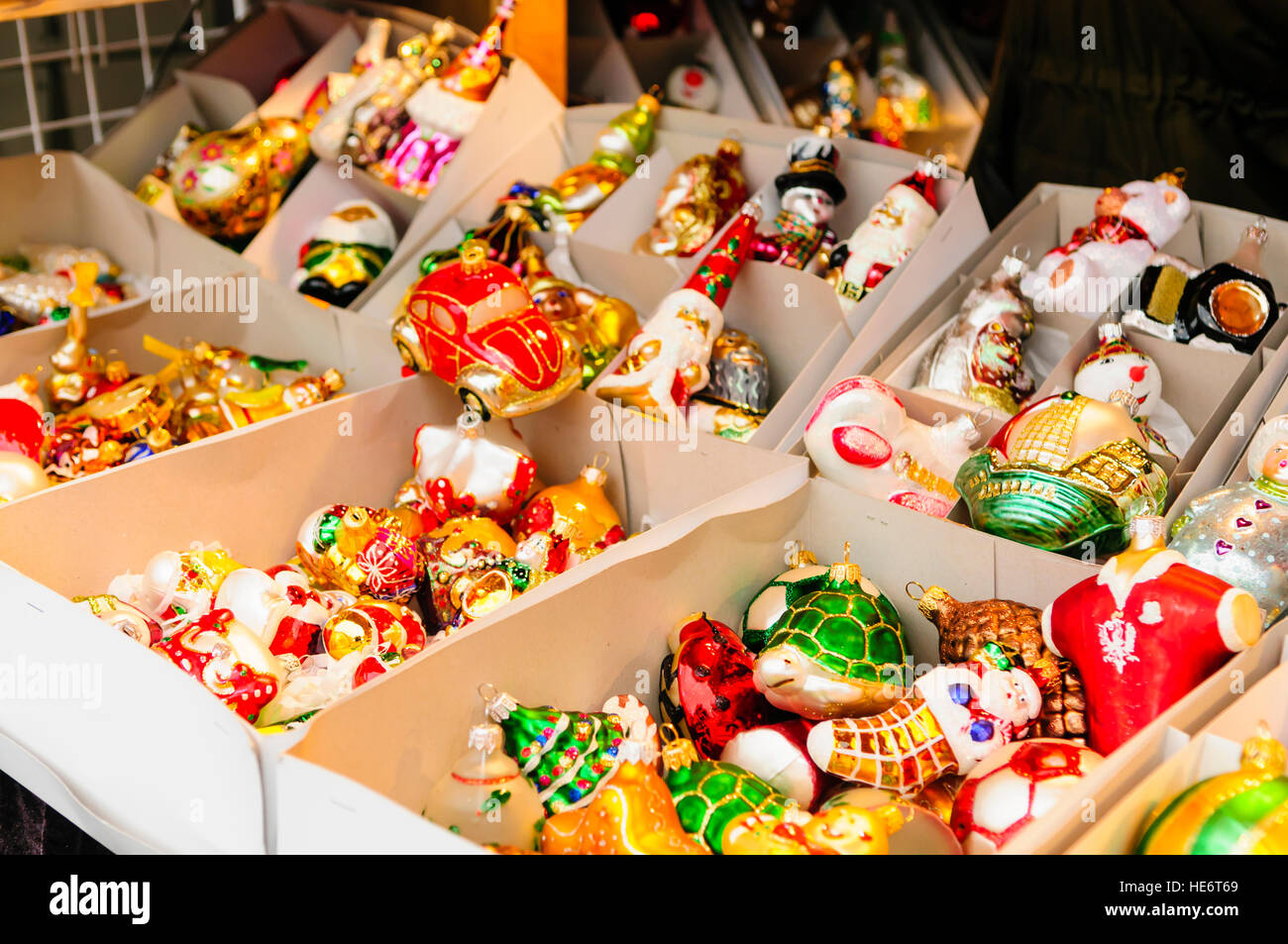 Christmas decorations on sale at a stall at the Christmas Market, Gdansk, Poland Stock Photo