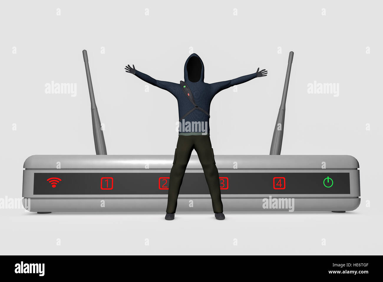 A hacker infiltrates an internet router - Stock Image