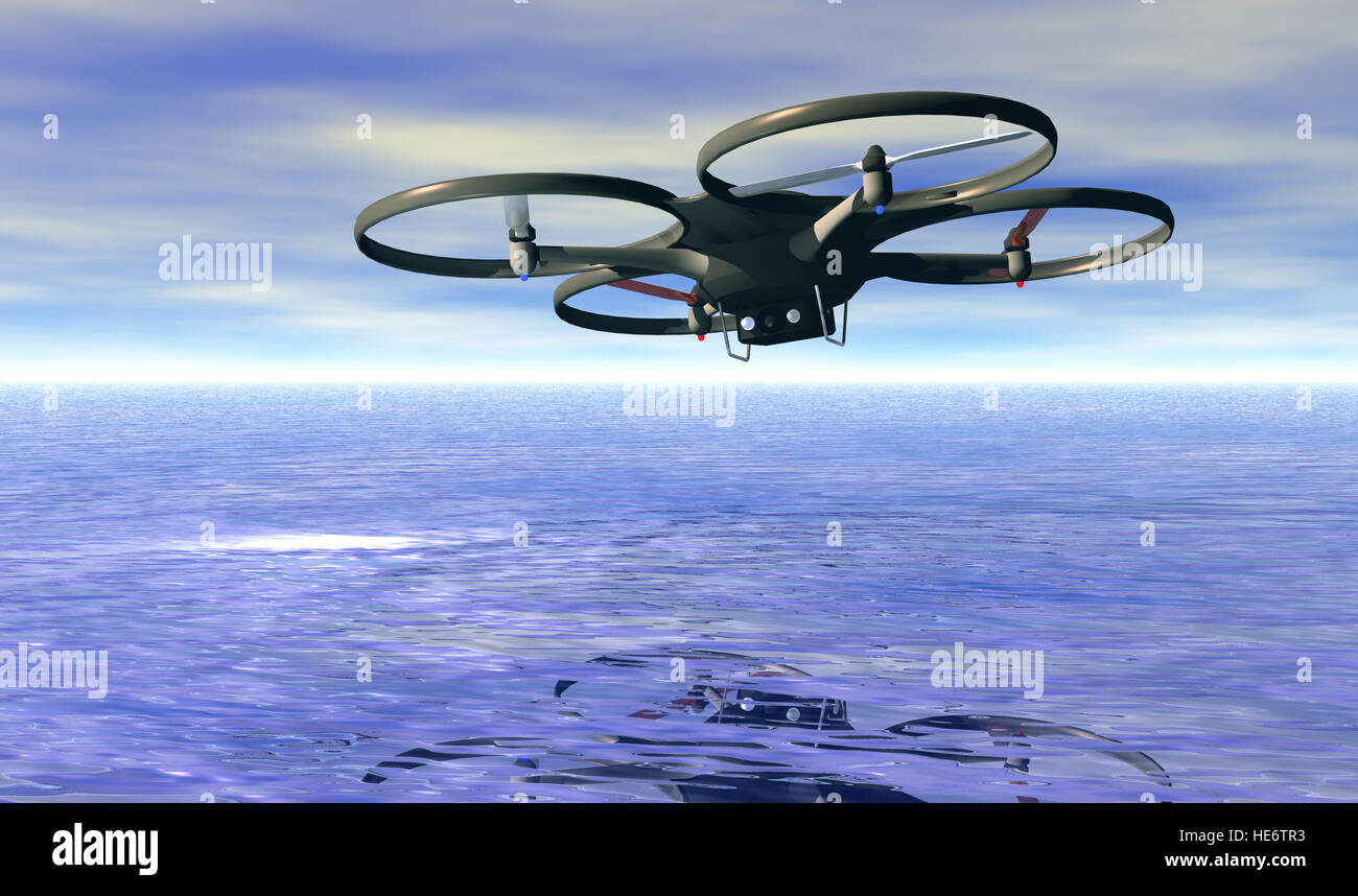 Aerial view of quadrocopter flying, 3d rendering - Stock Image