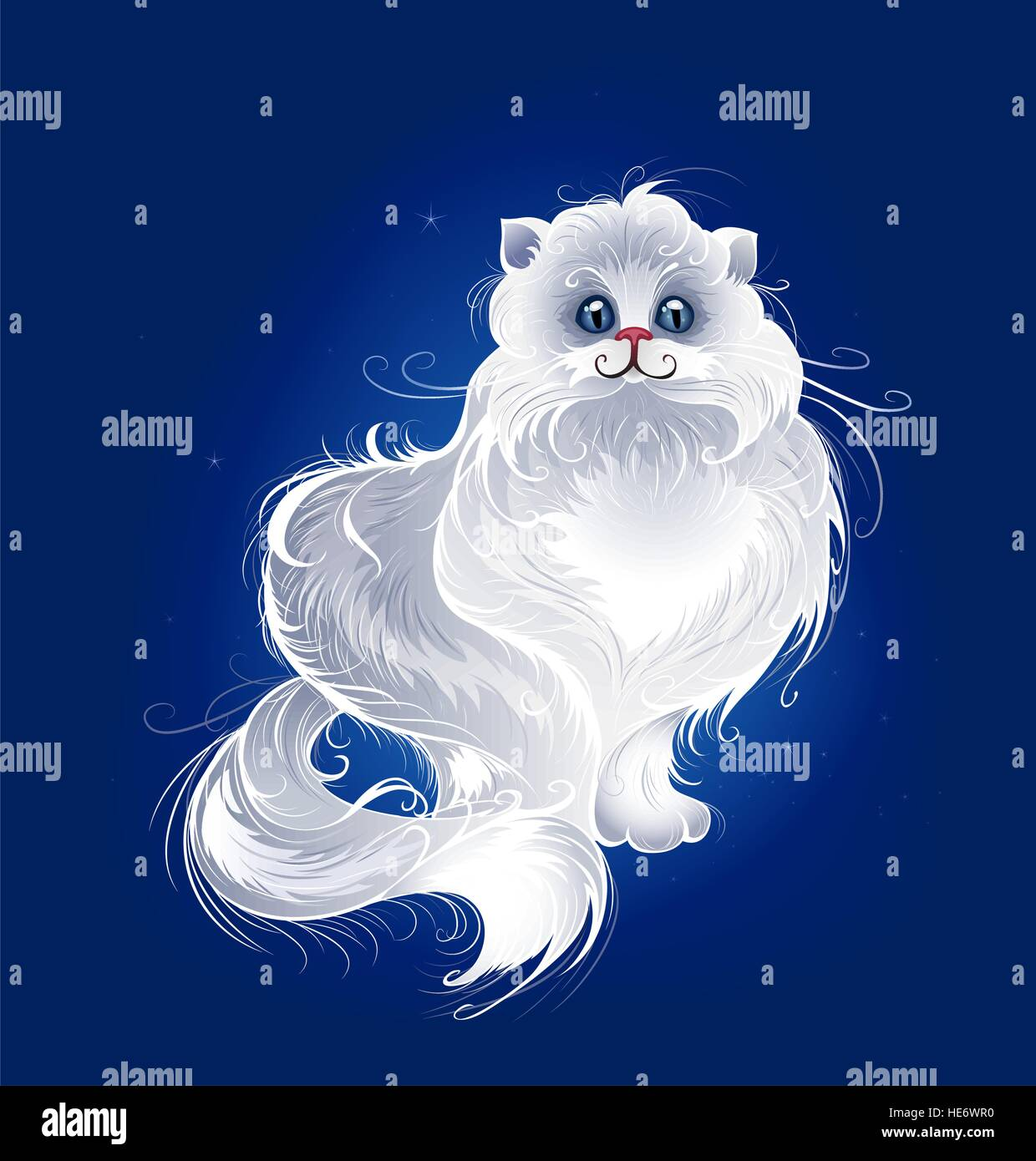 artistically painted, white, very fluffy Persian cat on a dark blue glowing background. - Stock Image