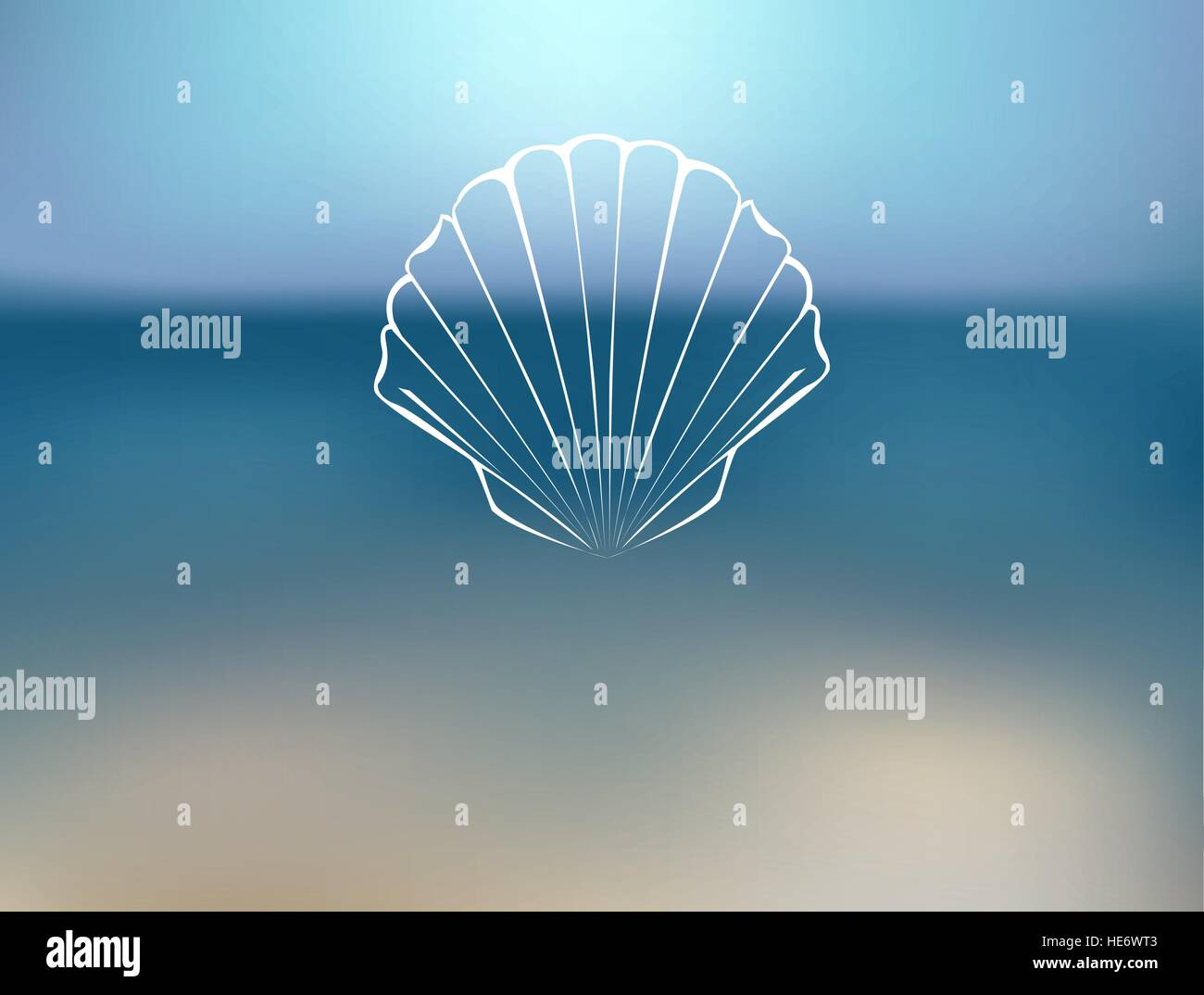 Marine blurred background with contour seashells. - Stock Vector