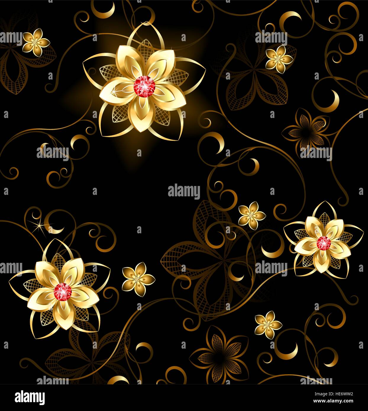pattern of gilded flowers with bright rubies on a brown background - Stock Image