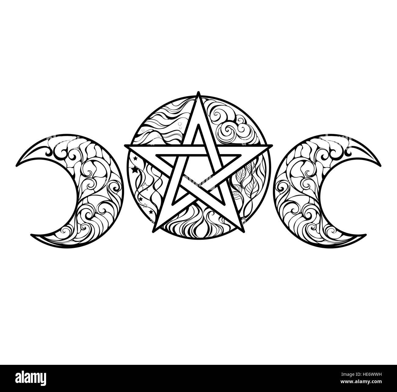 Pentagram with magic elements line art design for coloring books ...