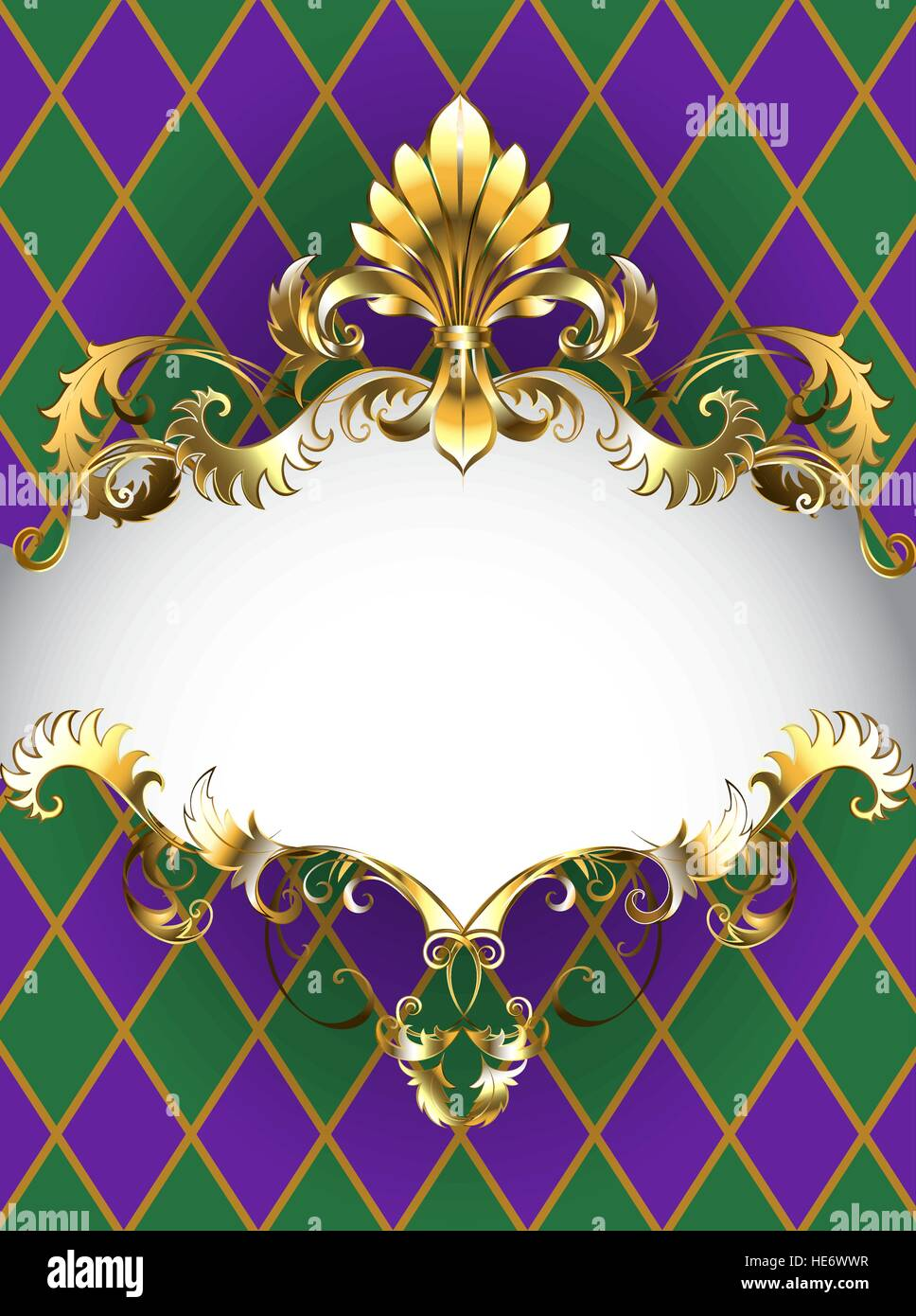 Festive Mardi Gras banner decorated with a gold frame and gold Fleur ...