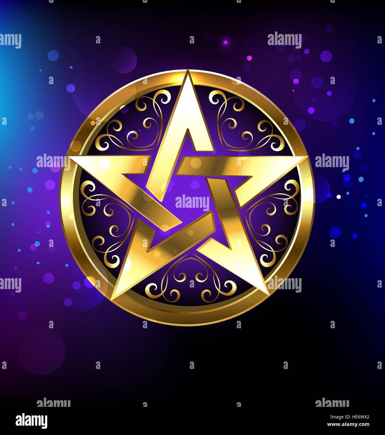 Magic pentagram glowing in gold on the space background. Magic design. Gold pentagram. Gothick style. Mysticism - Stock Vector