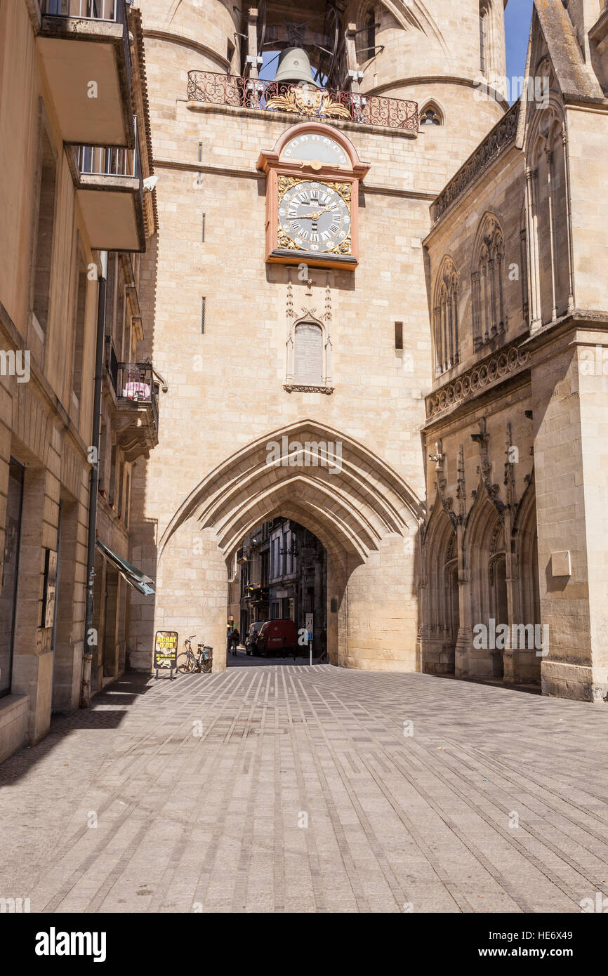 La Grosse Cloche in the city of Bordeaux, France. - Stock Image