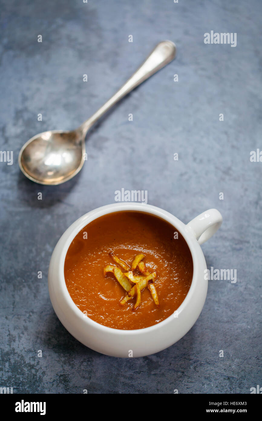 Roast carrot and ginger soup - Stock Image