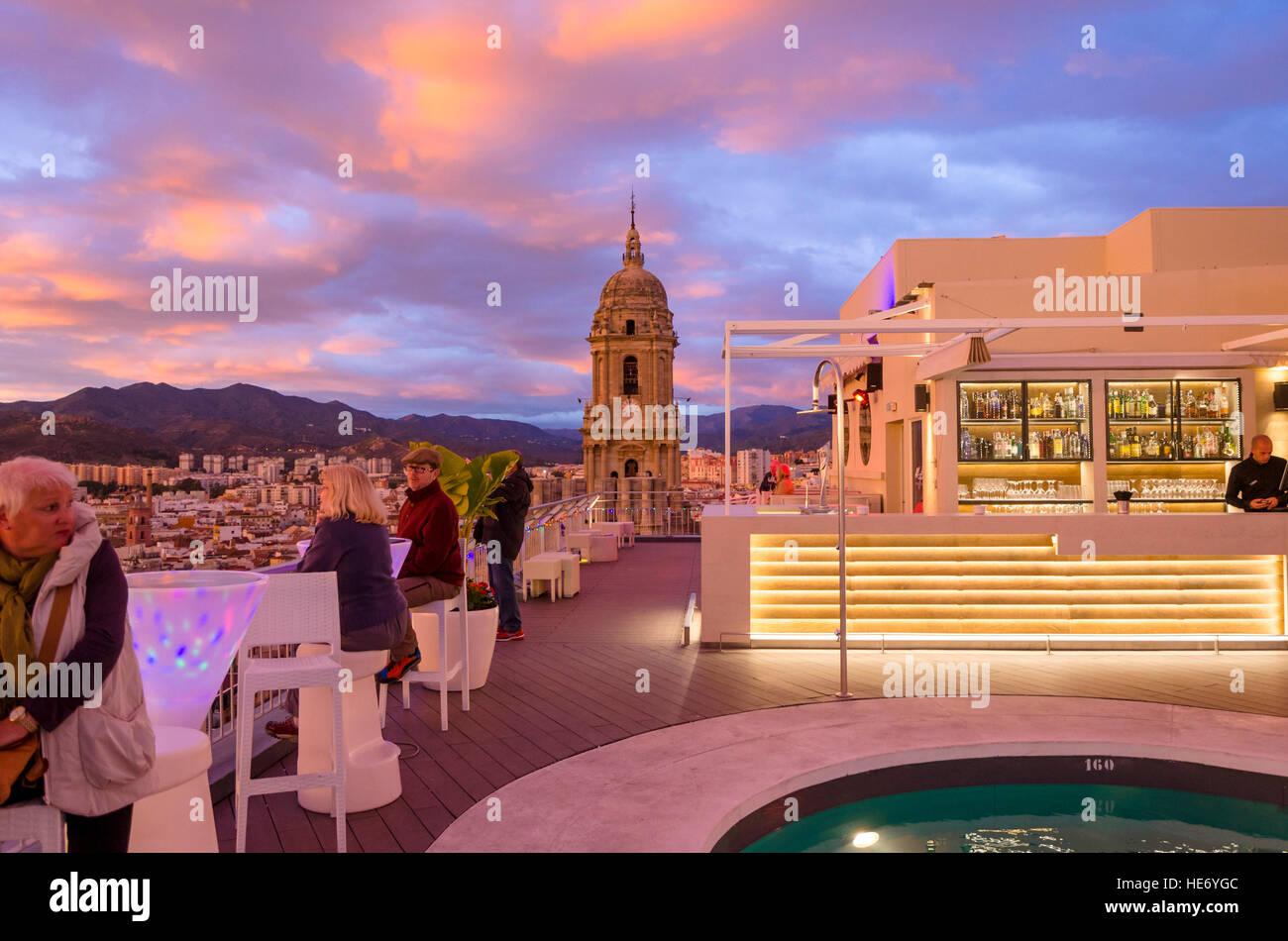 Rooftop Terrace Of Ac Hotel Malaga Palacio In Malaga During