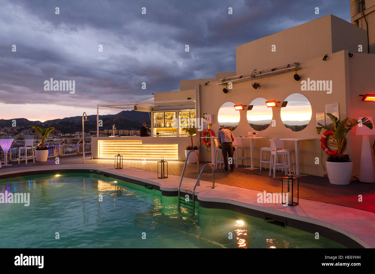Rooftop Terrace of AC Hotel Malaga Palacio in Malaga, during sunset, Andalusia, Spain. - Stock Image